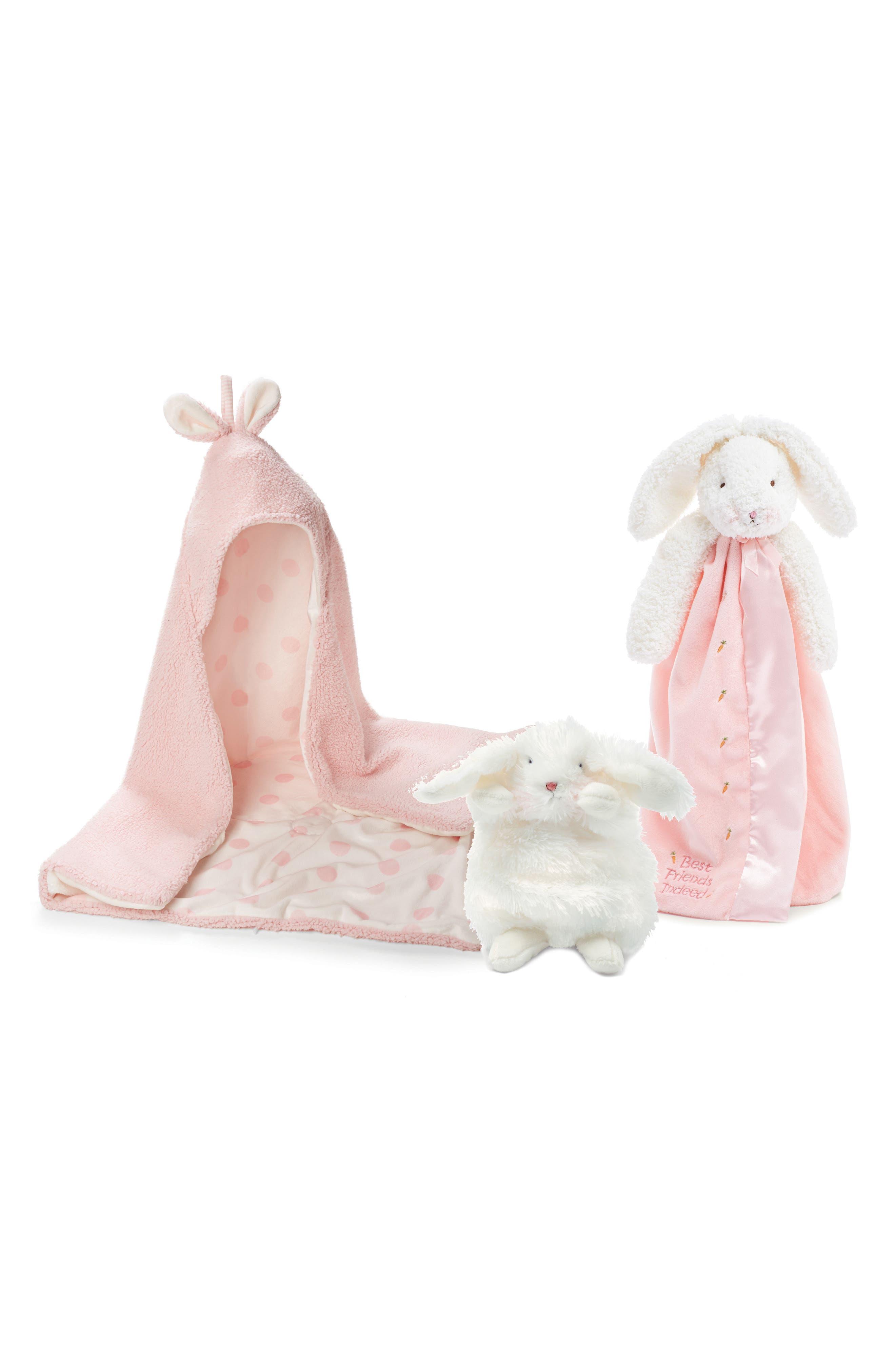 Hooded Blanket, Lovie & Stuffed Animal Set,                             Main thumbnail 1, color,                             Petal Pink
