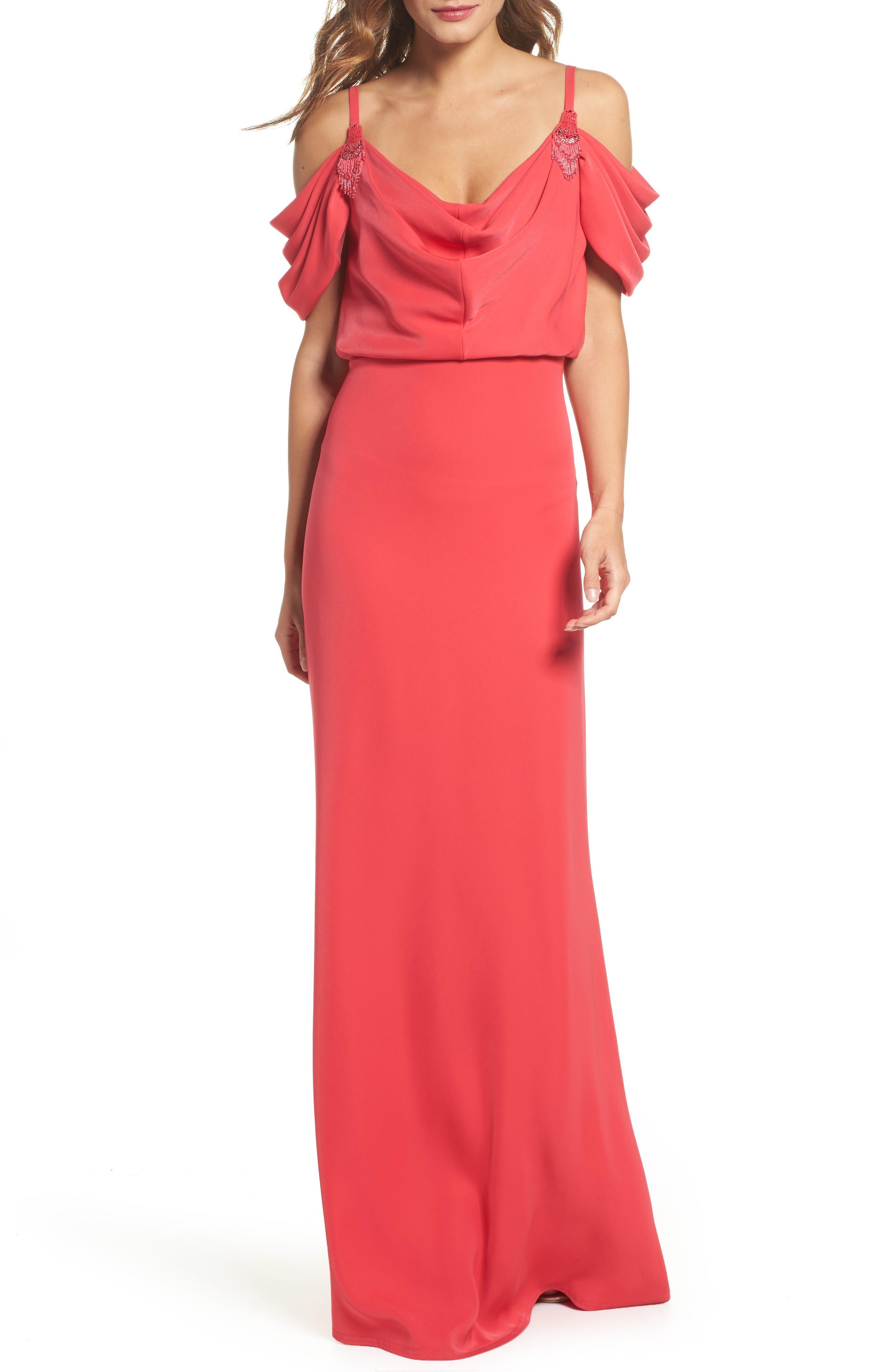 Embellished Cold Shoulder Crepe Gown,                             Main thumbnail 1, color,                             Pop Red