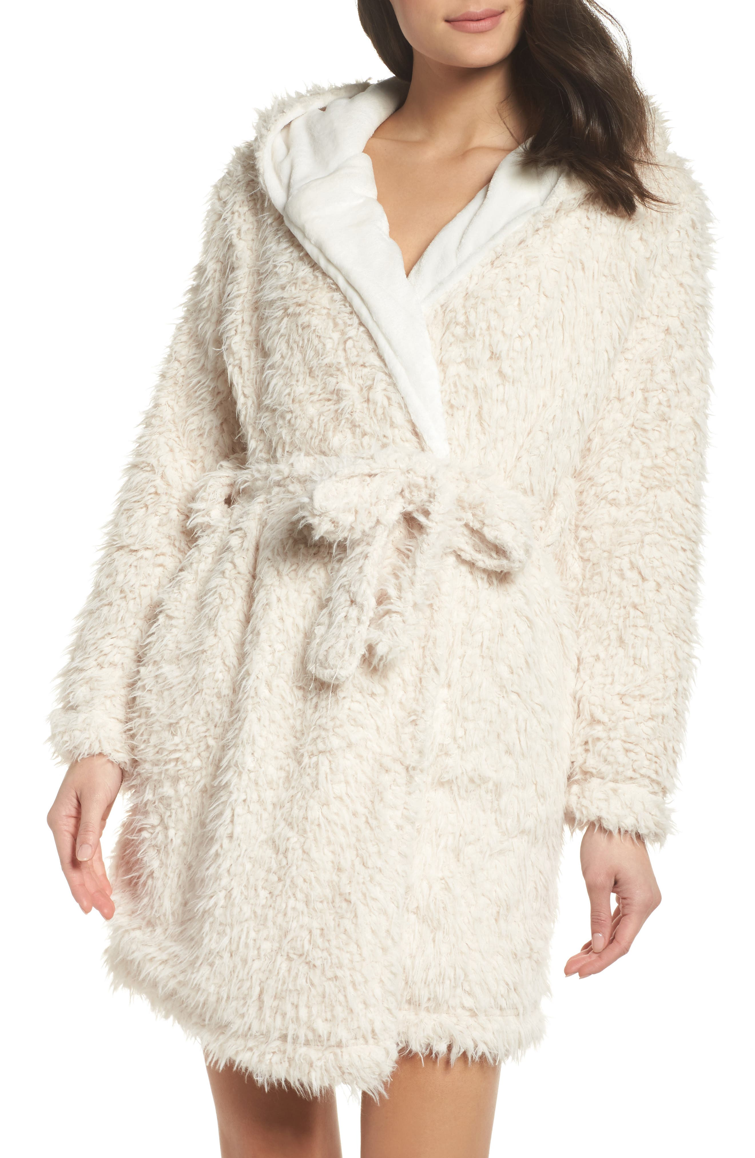 Main Image - Topshop Teddy Hooded Faux Fur Robe