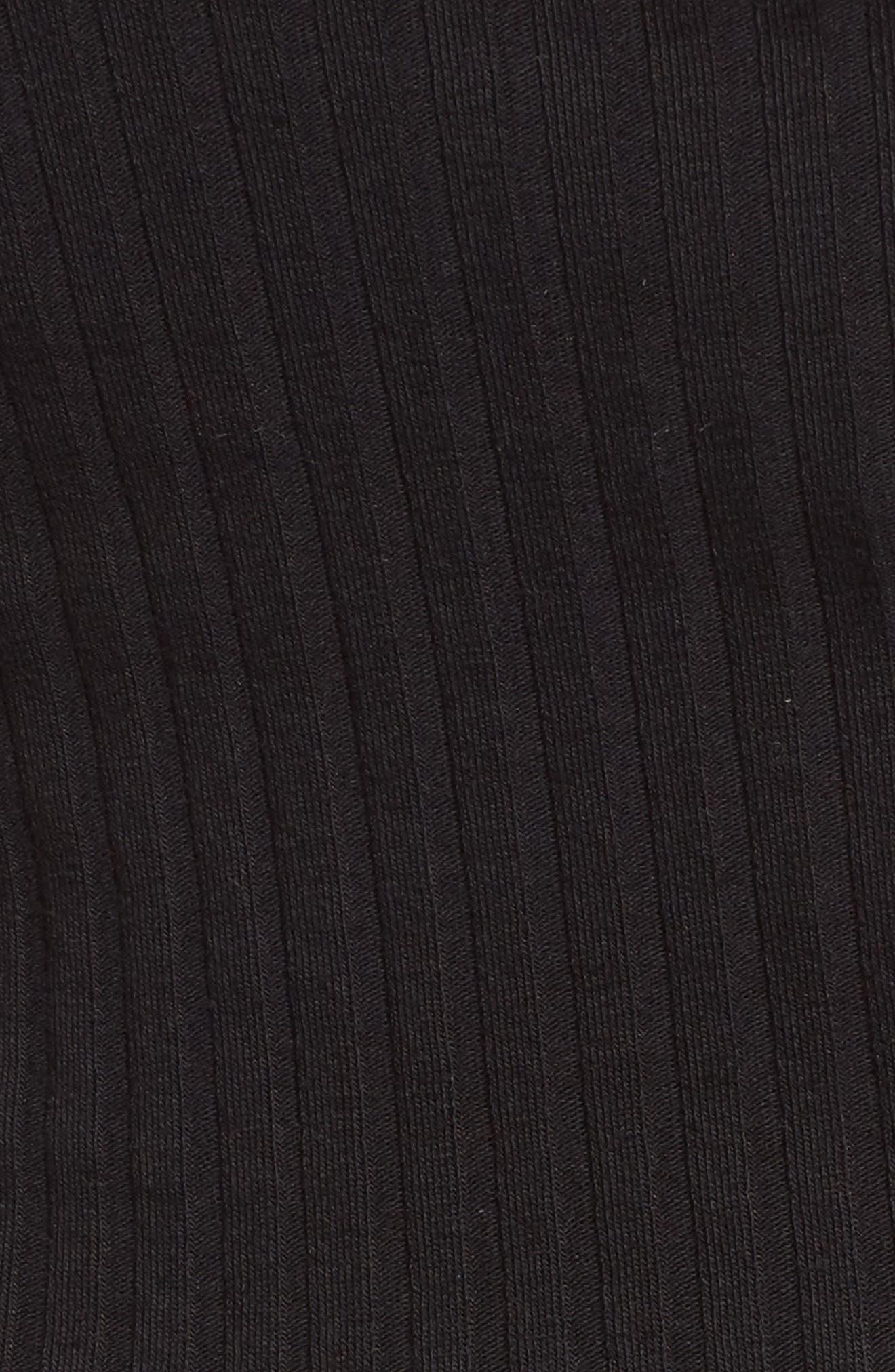 Square Neck Ribbed Crop Tank Top,                             Alternate thumbnail 5, color,                             Black