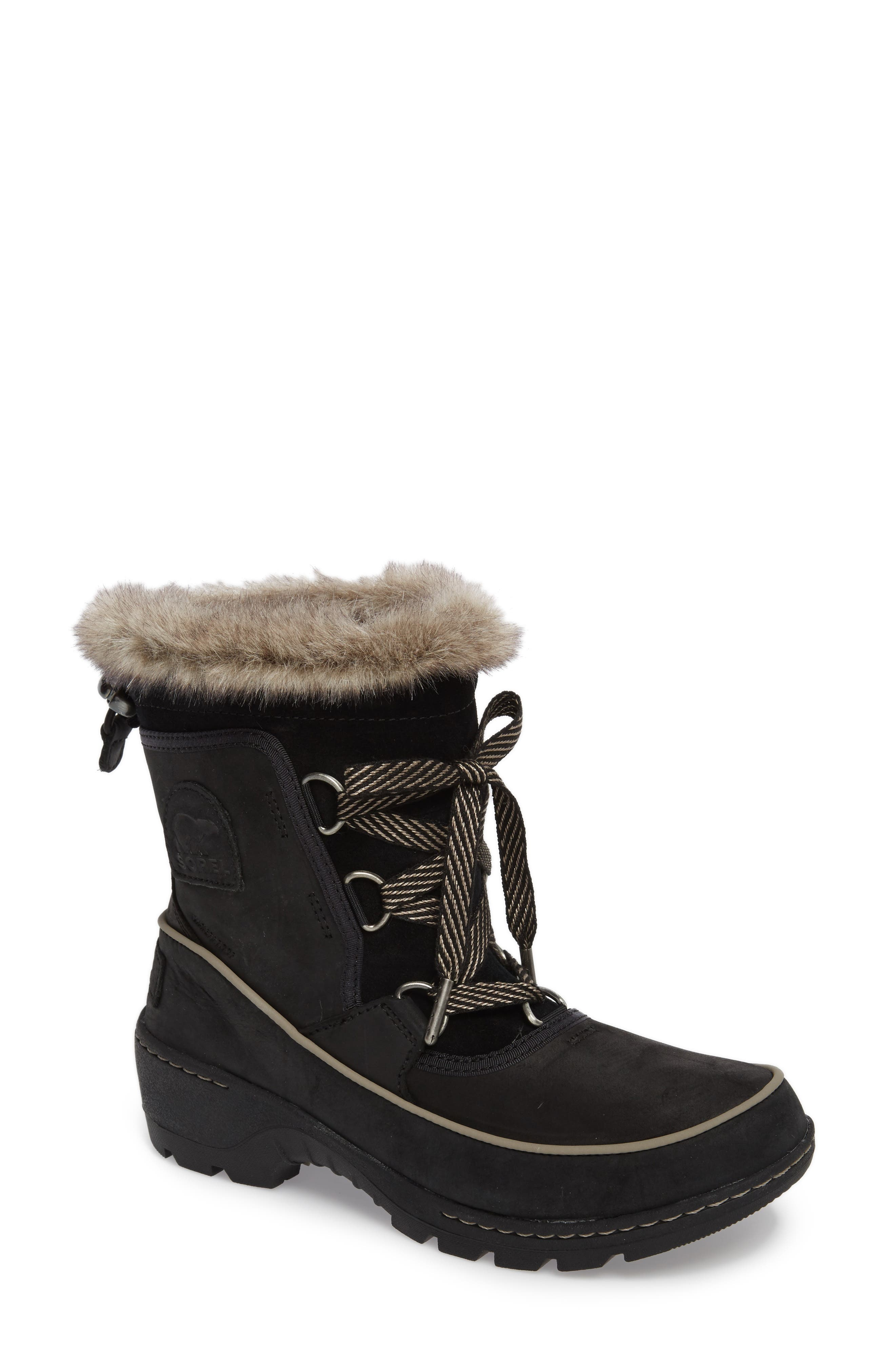 Tivoli II Insulated Winter Boot with Faux Fur Trim,                             Main thumbnail 1, color,                             Black/ Kettle