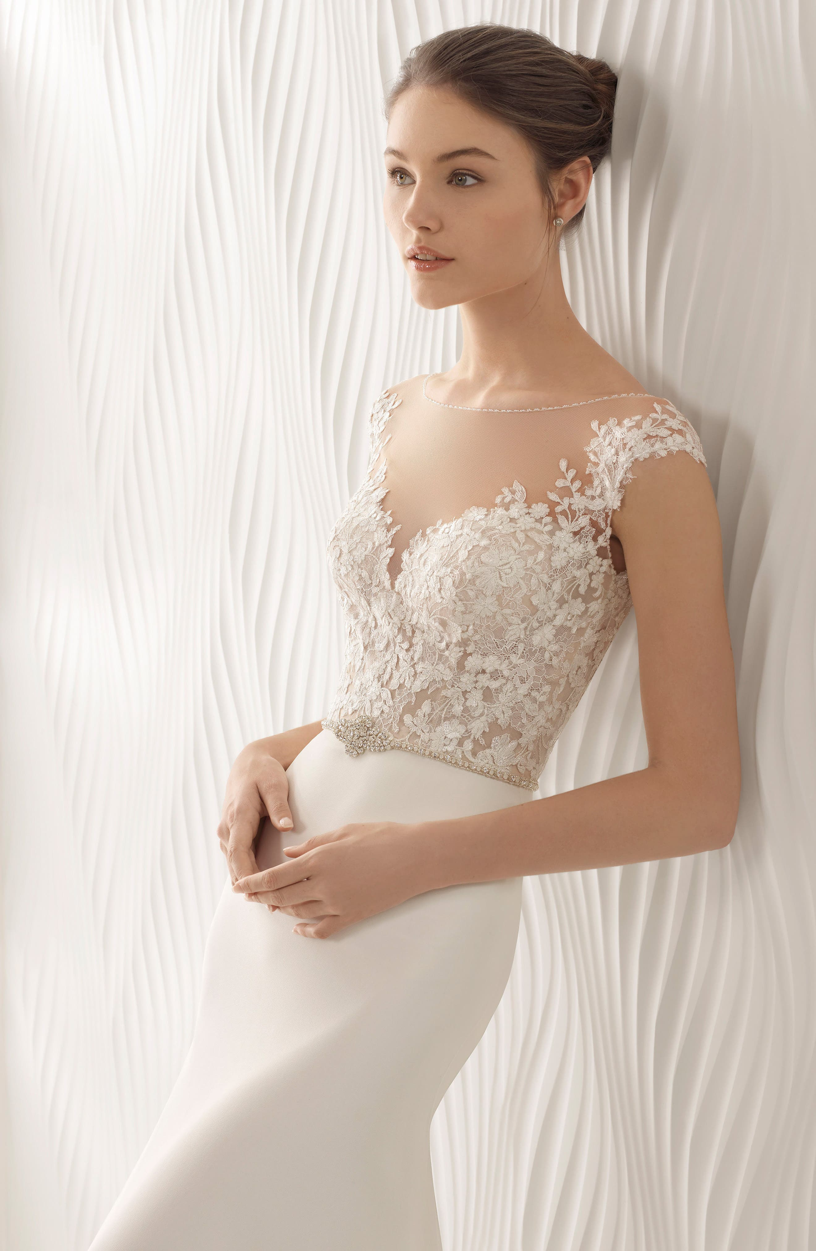 Alternate Image 3  - Rosa Clará Astrid Lace & Georgette Trumpet Gown