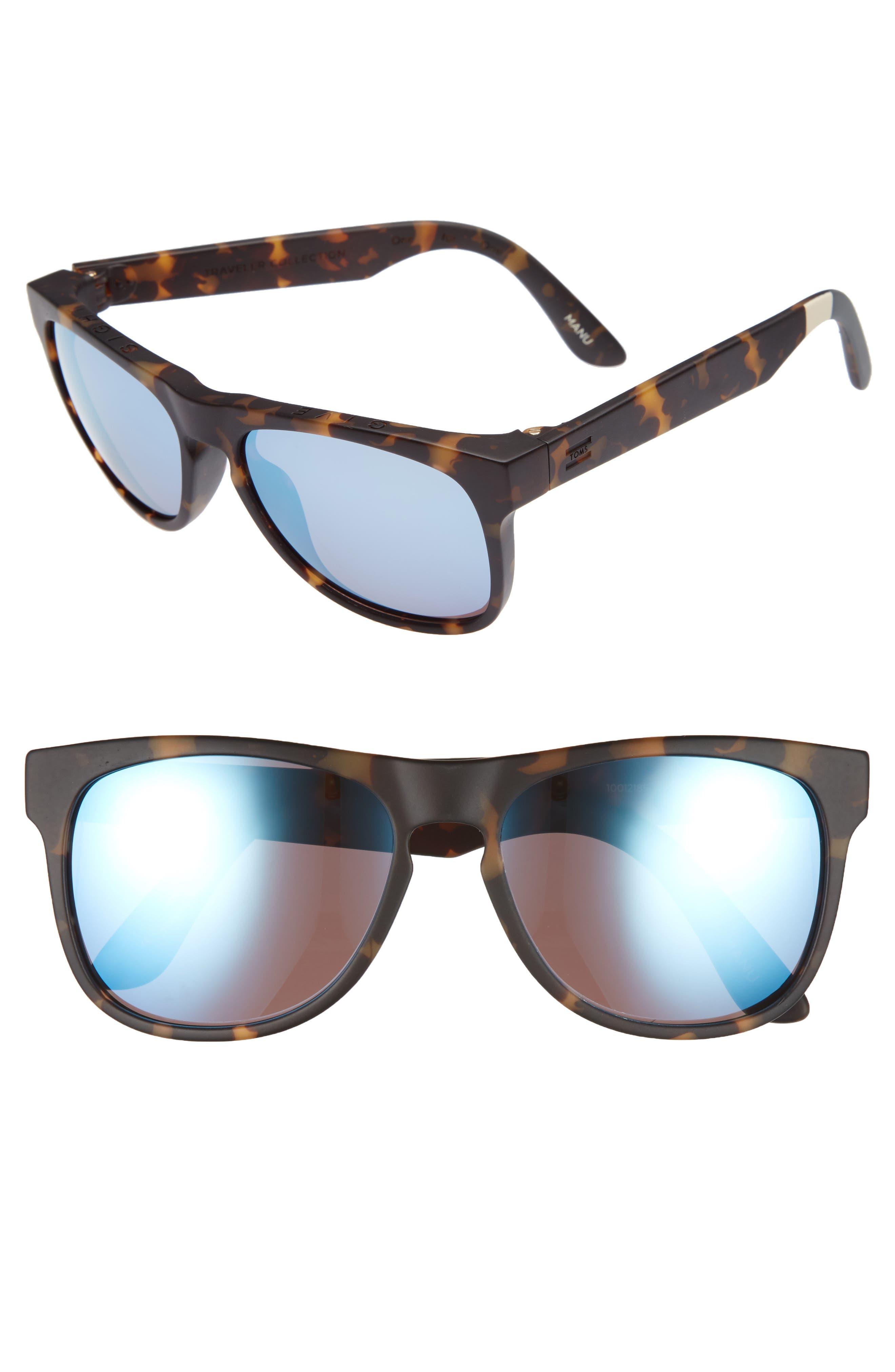 Manu 57mm Sunglasses,                         Main,                         color, Blonde Tortoise