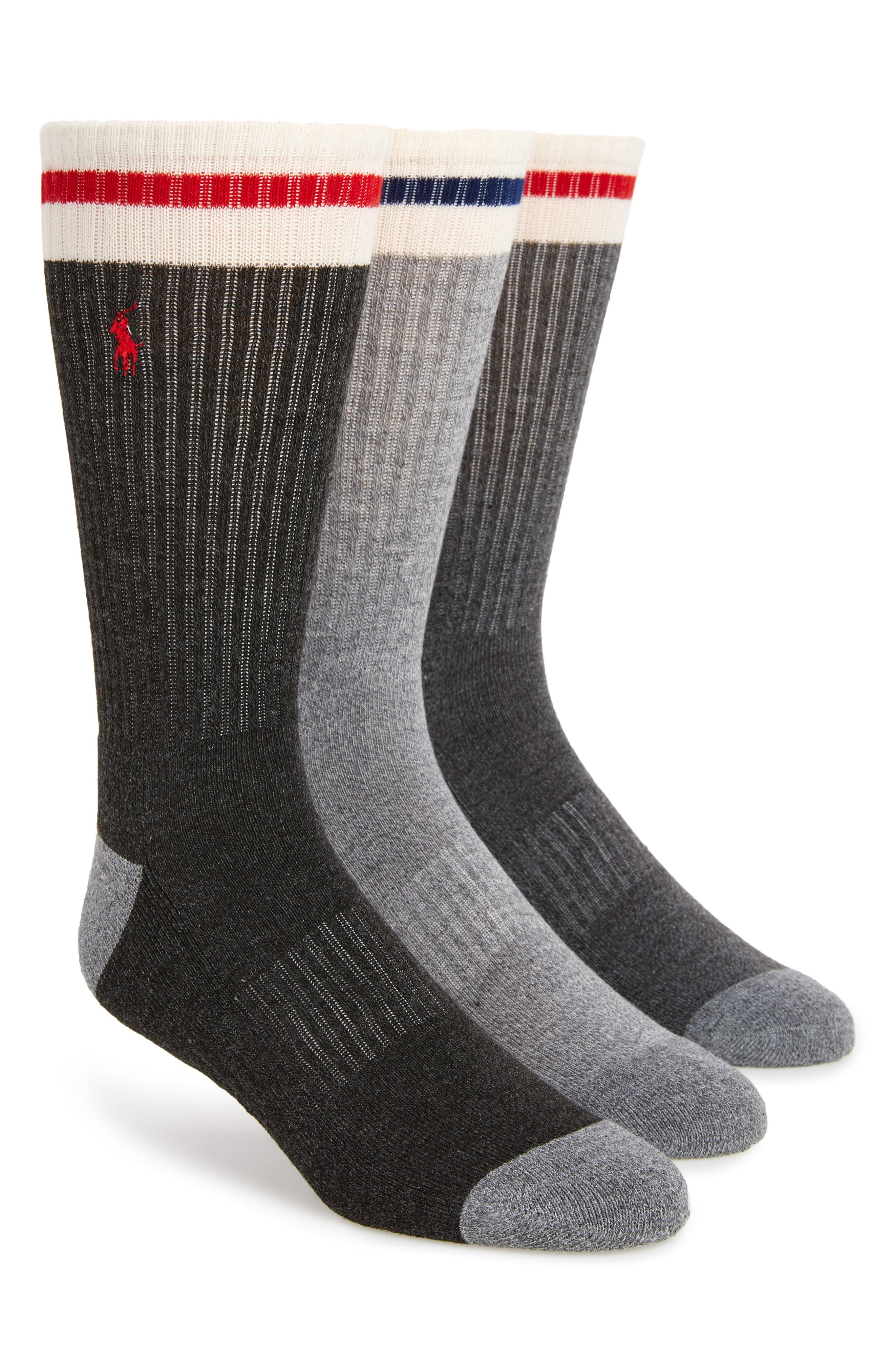 3-Pack Ivory Stripe Sport Crew Socks,                             Main thumbnail 1, color,                             Grey Heather/ Assorted