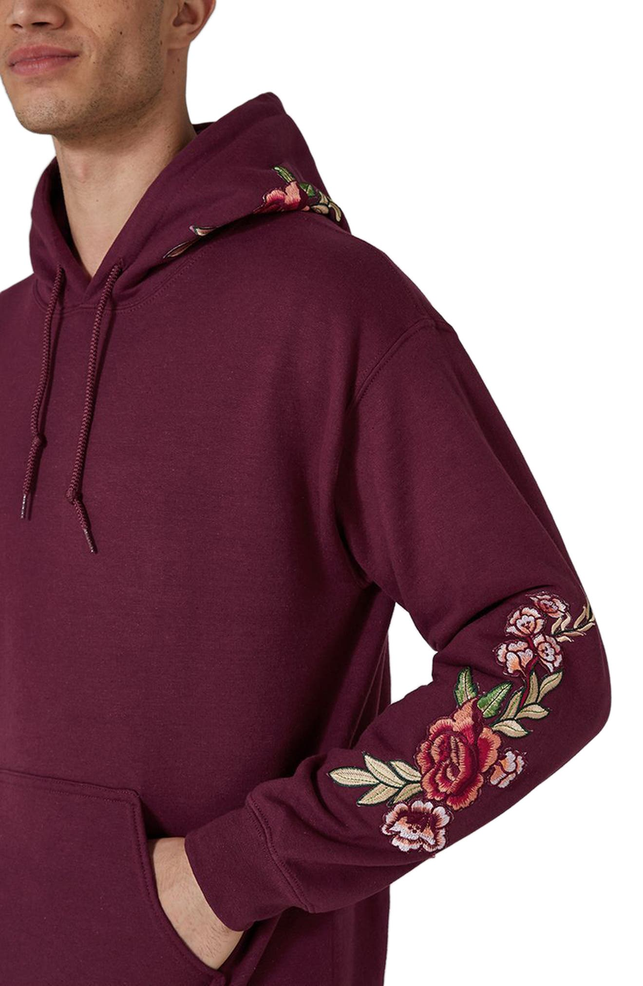 Rose Embroidered Hoodie,                             Alternate thumbnail 3, color,                             Burgundy Multi