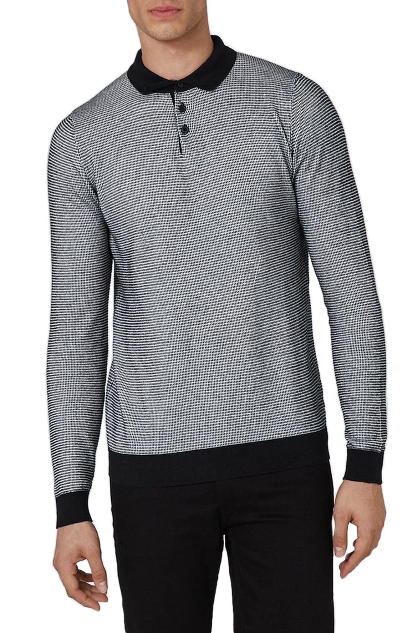 Long Sleeve Texture Polo,                             Main thumbnail 1, color,                             Black Multi
