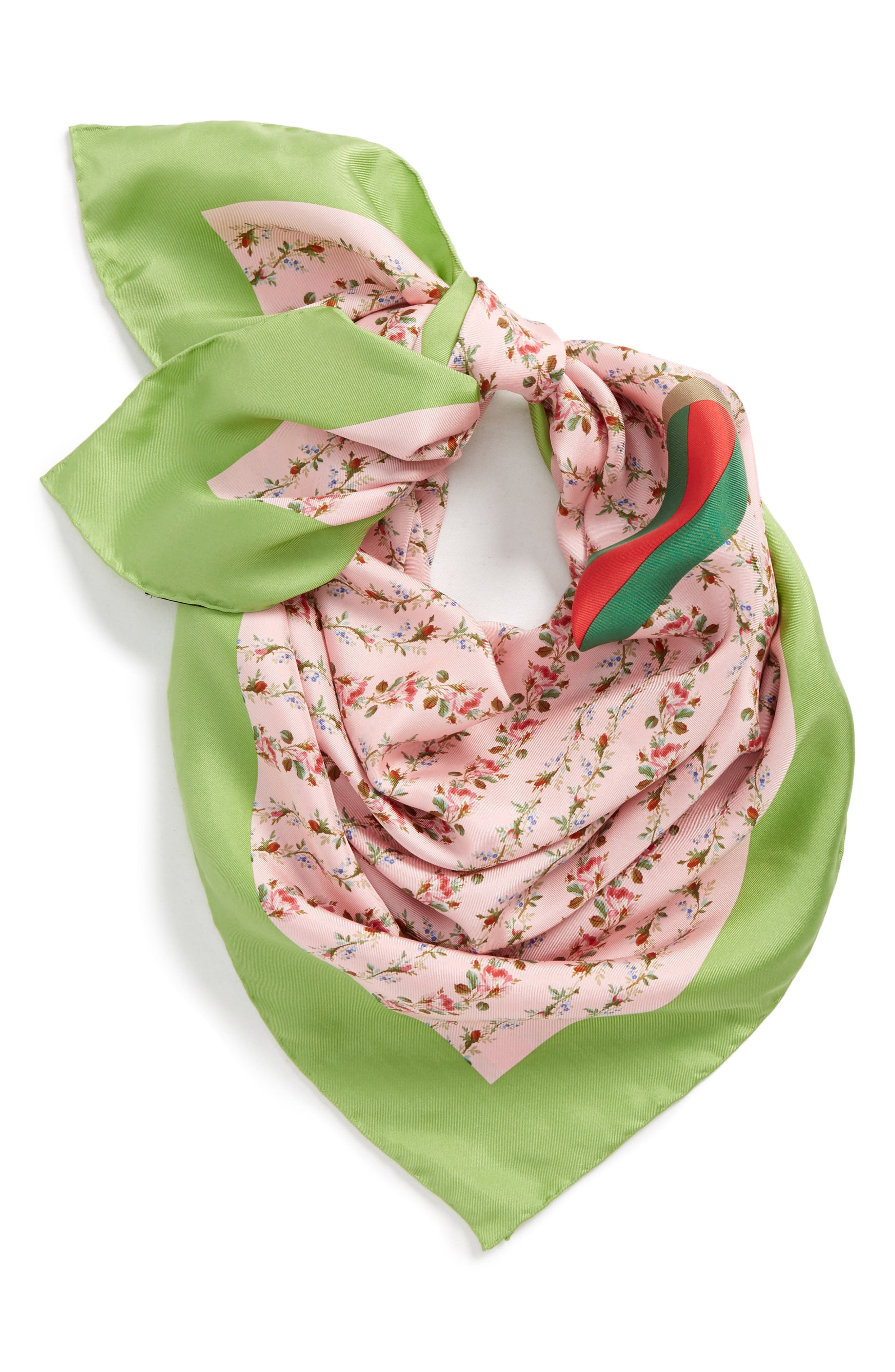 Alternate Image 2  - Gucci Vintage Rose Foulard Silk Scarf