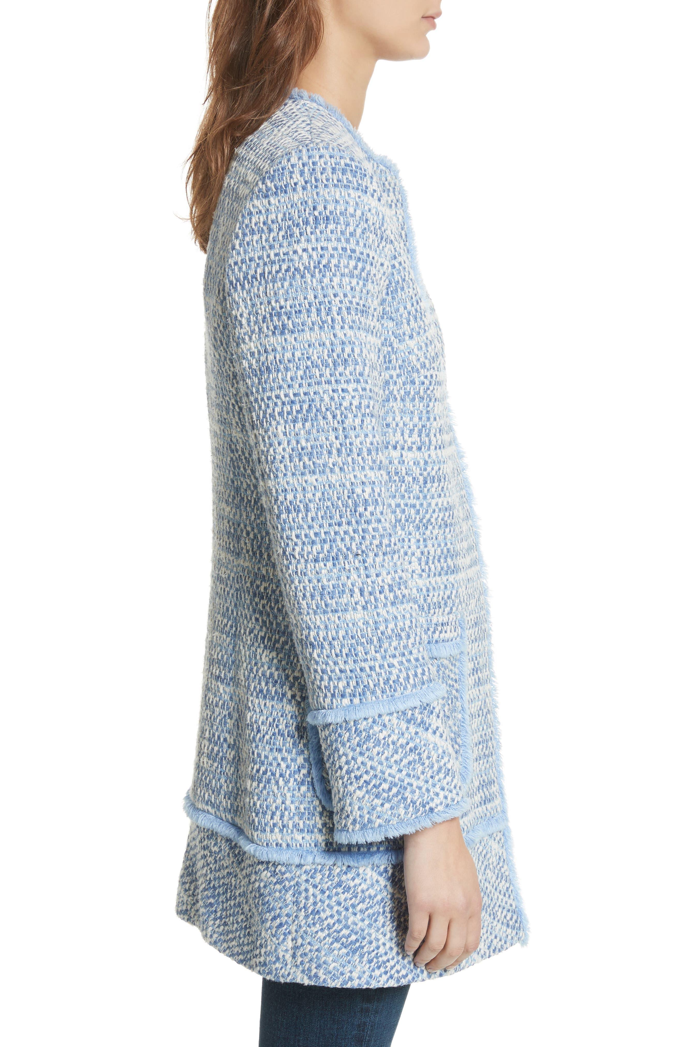Long Tweed Jacket,                             Alternate thumbnail 3, color,                             Pale Blue