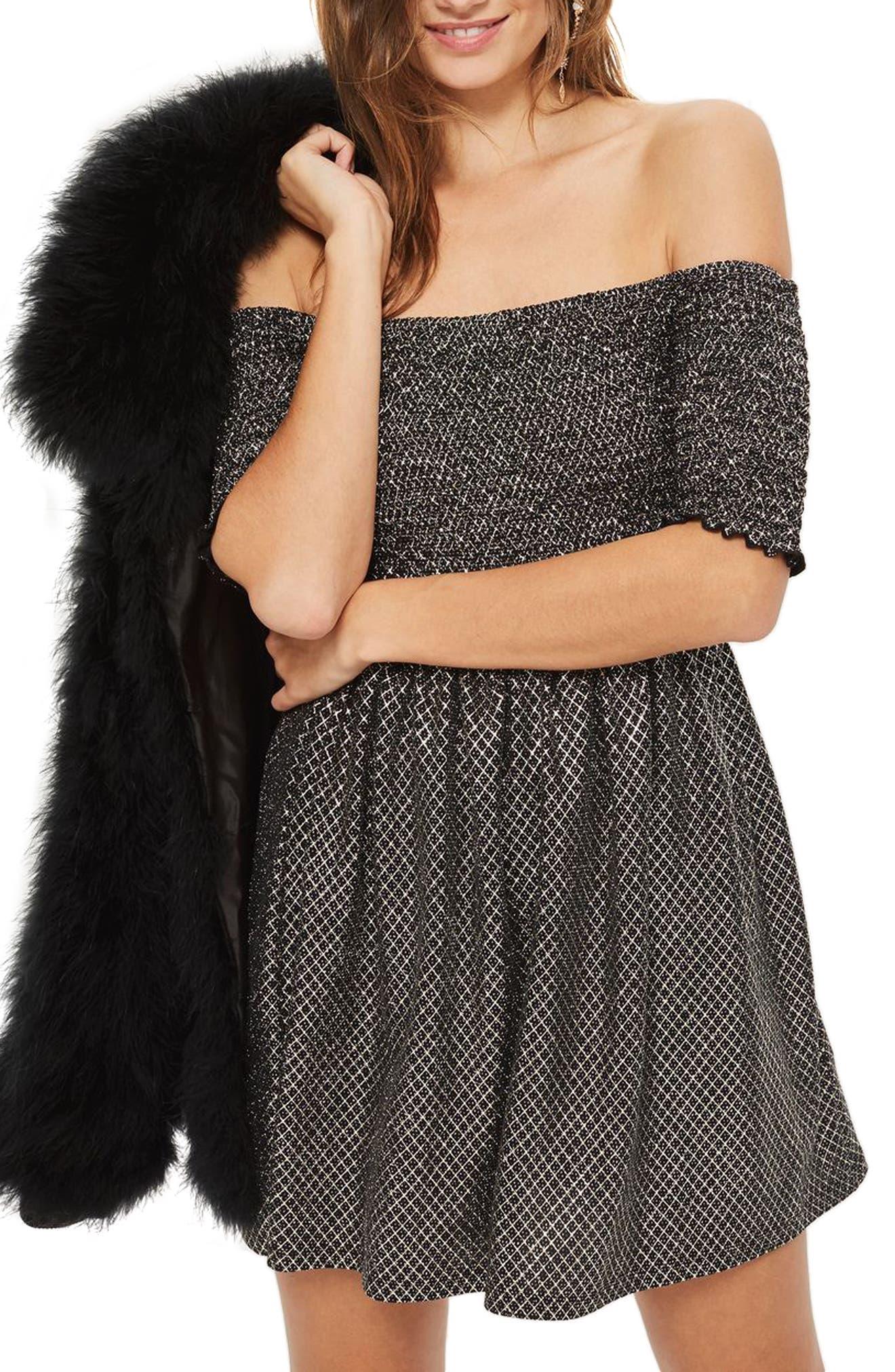 Smocked Off the Shoulder Dress,                         Main,                         color, Black Multi