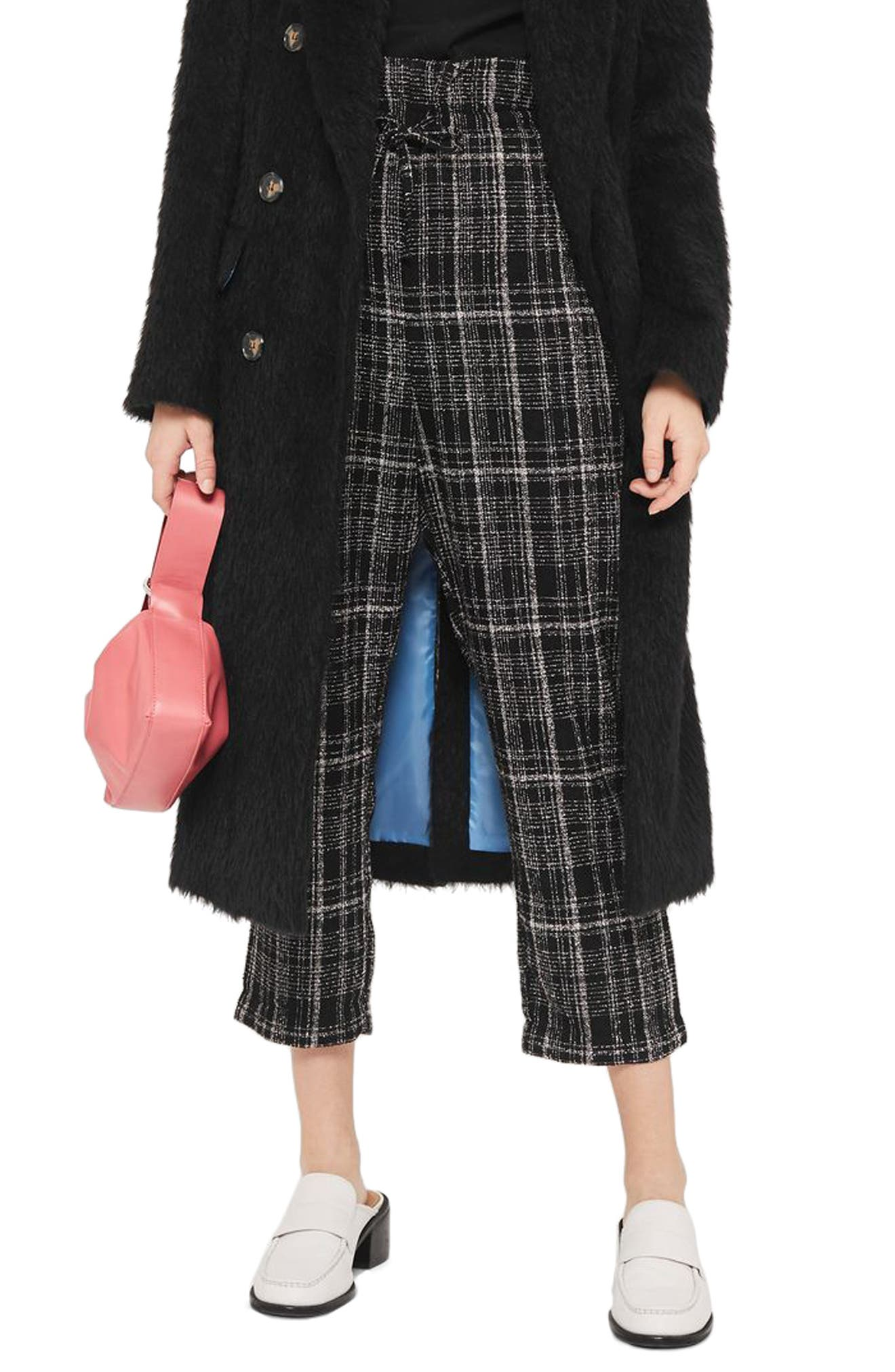 Neppy Checked Paperbag Trousers,                         Main,                         color, Black Multi