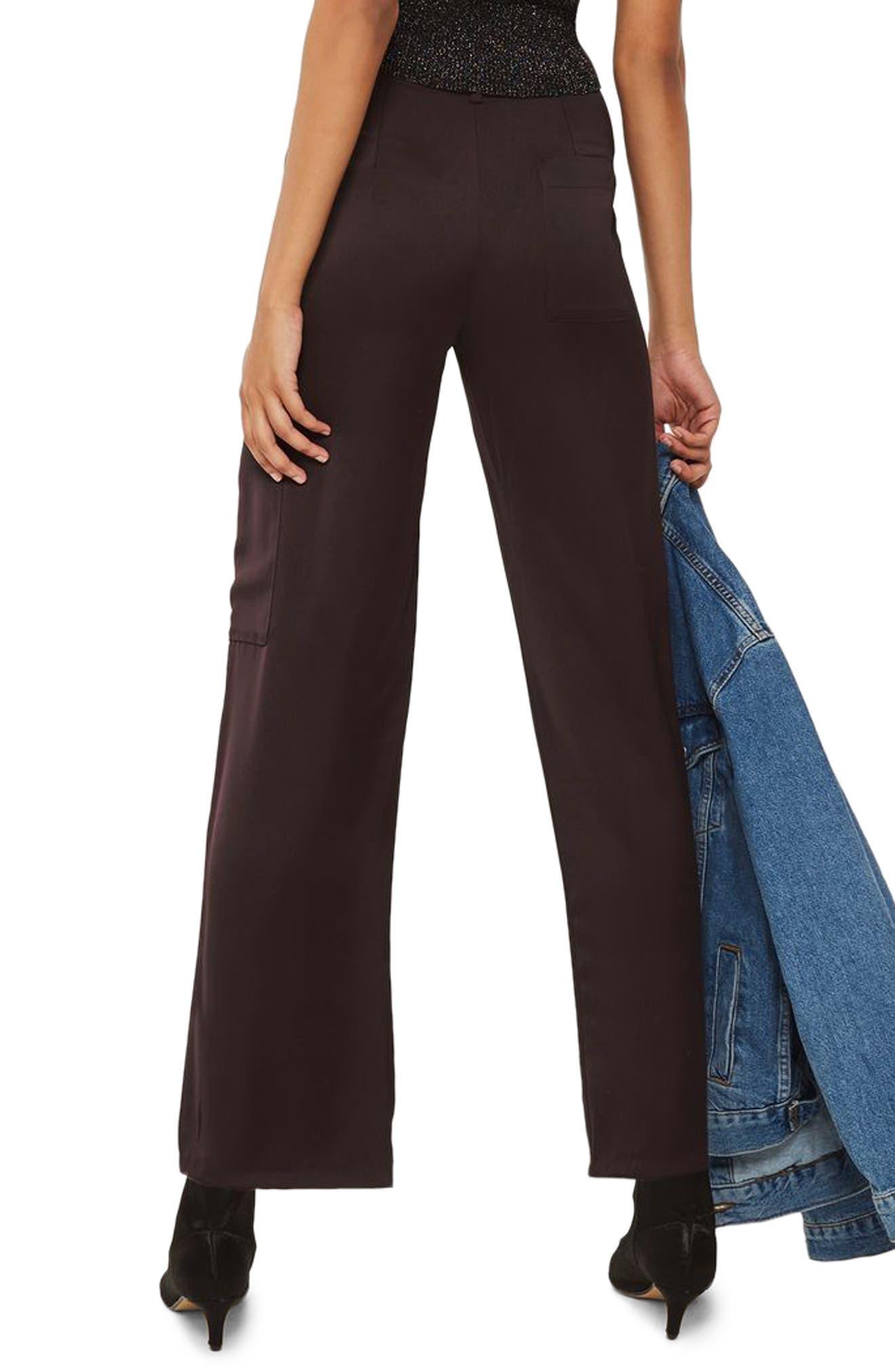 Satin Wide Leg Utility Trousers,                             Alternate thumbnail 2, color,                             Aubergine