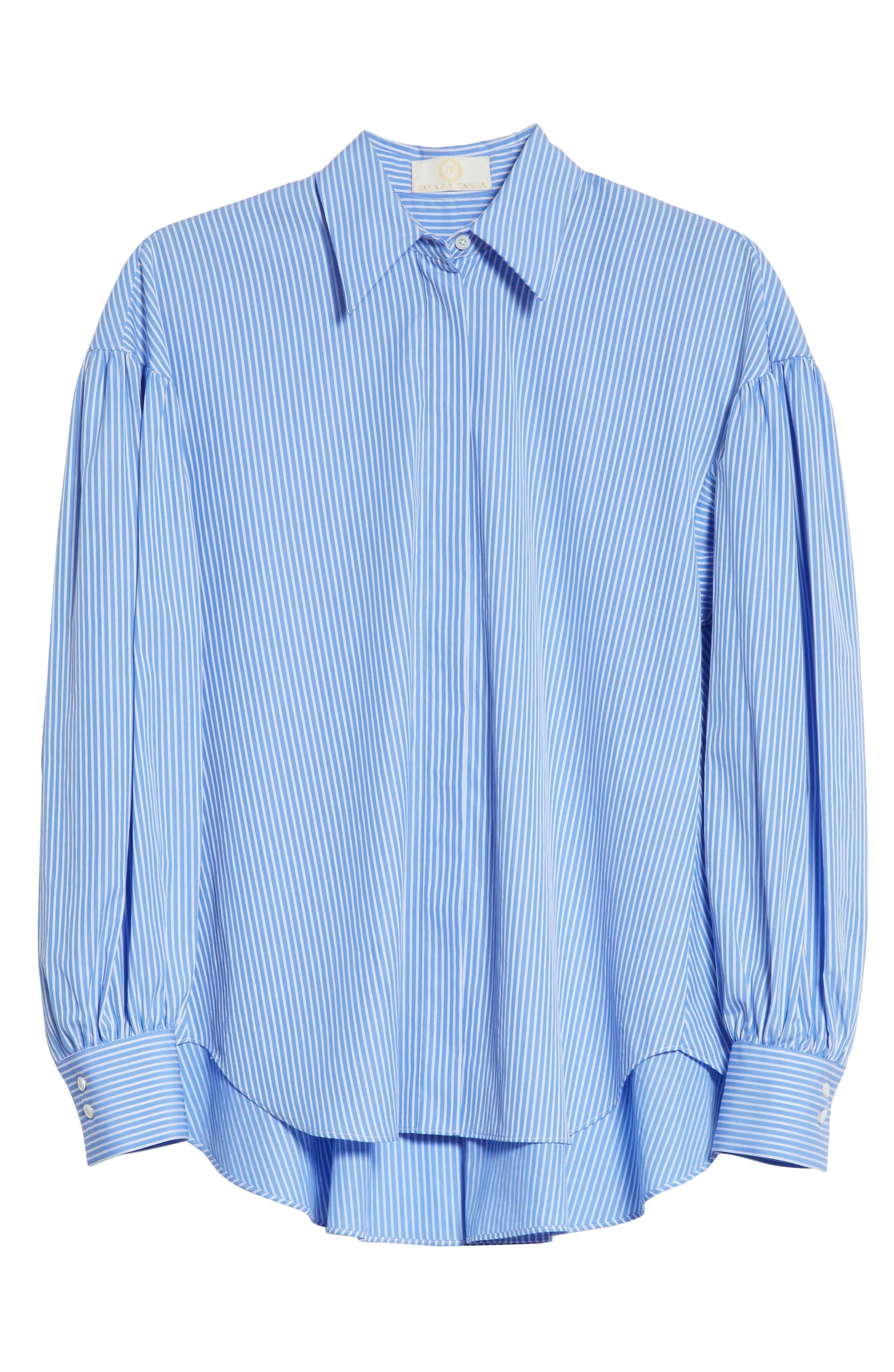 Stripe Puff Sleeve Shirt,                             Alternate thumbnail 6, color,                             Blue Stripe