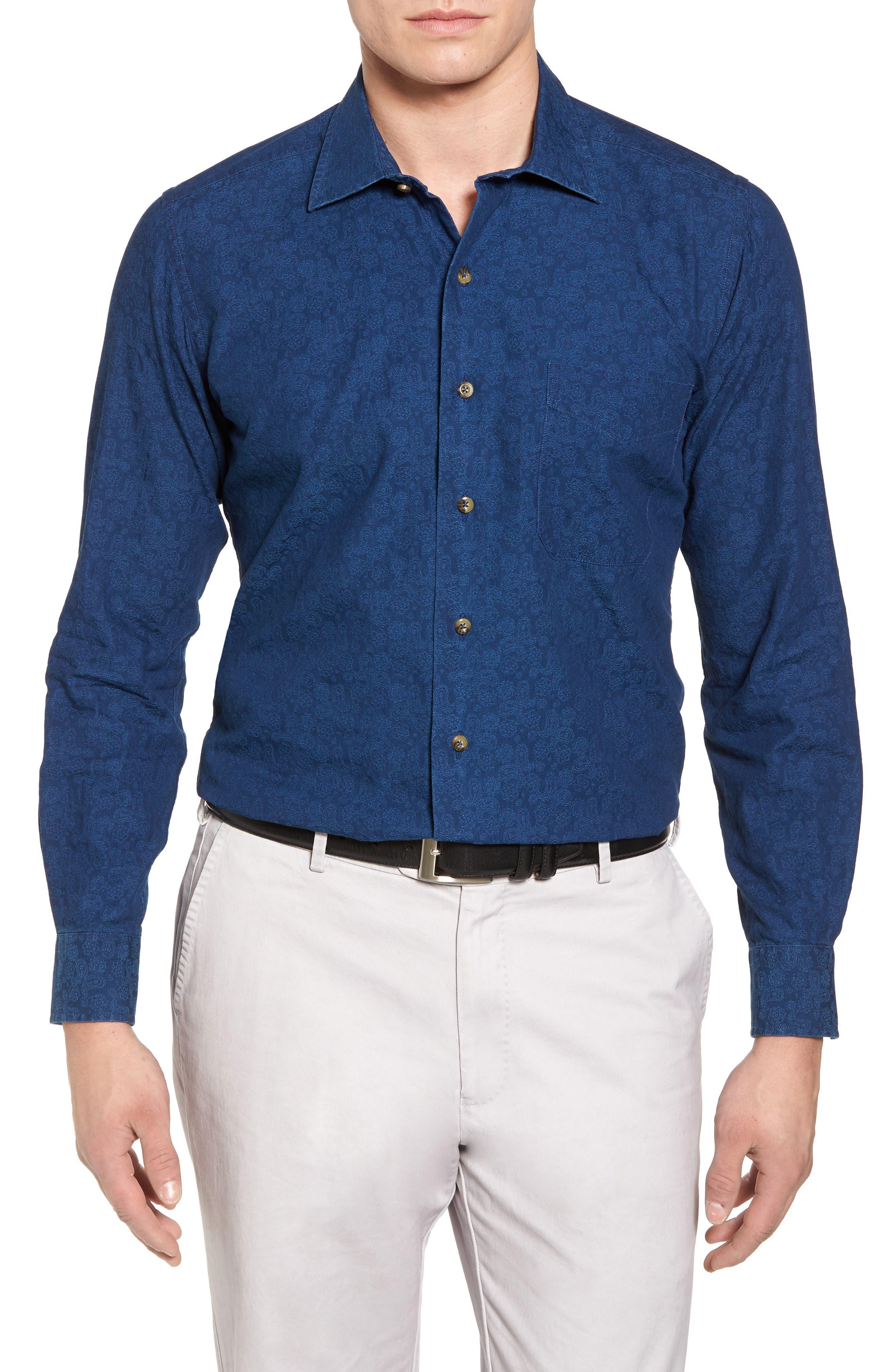 Paisley Sport Shirt,                         Main,                         color, Navy