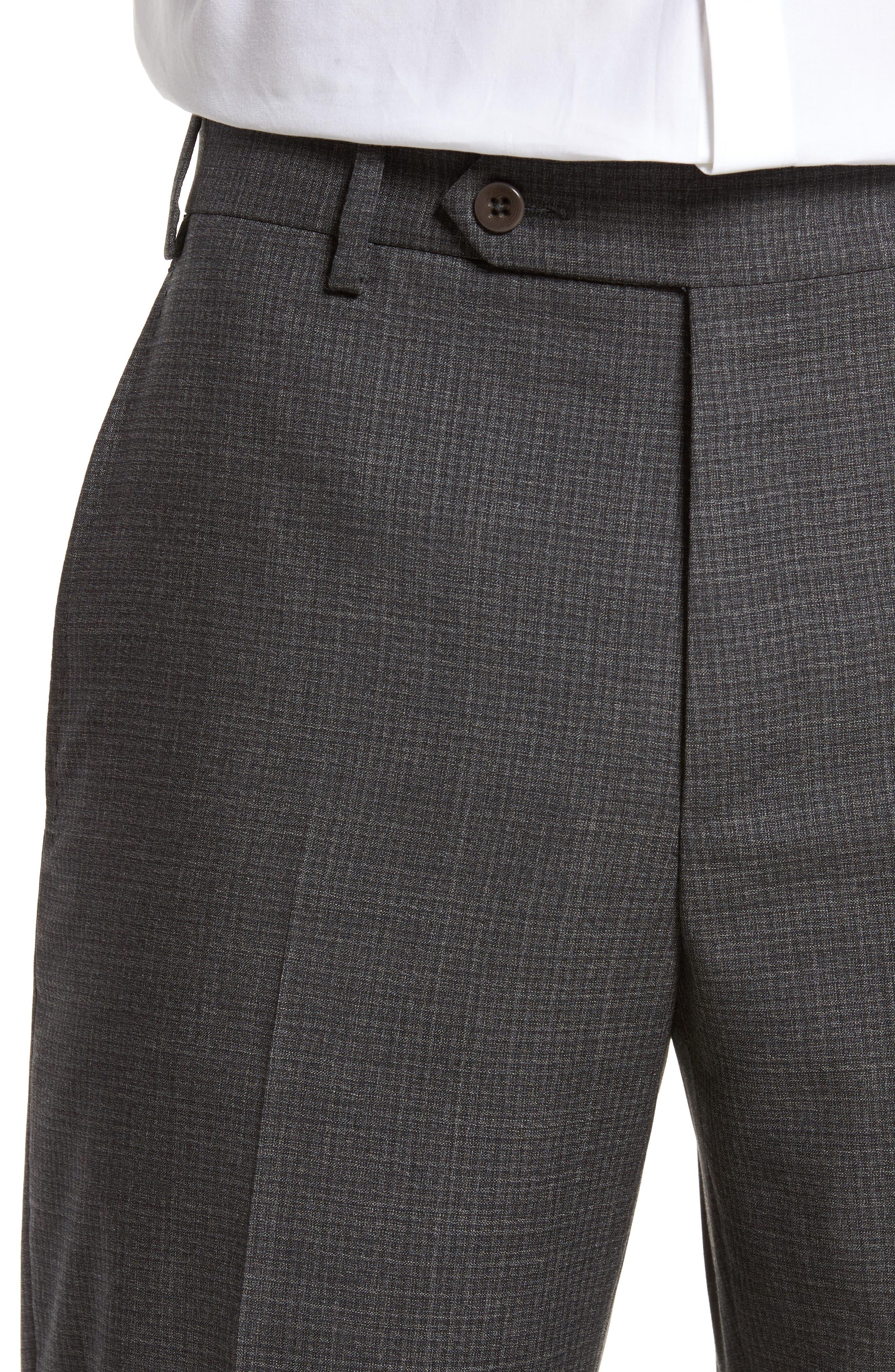 Devon Flat Front Check Wool Trousers,                             Alternate thumbnail 4, color,                             Dark Grey