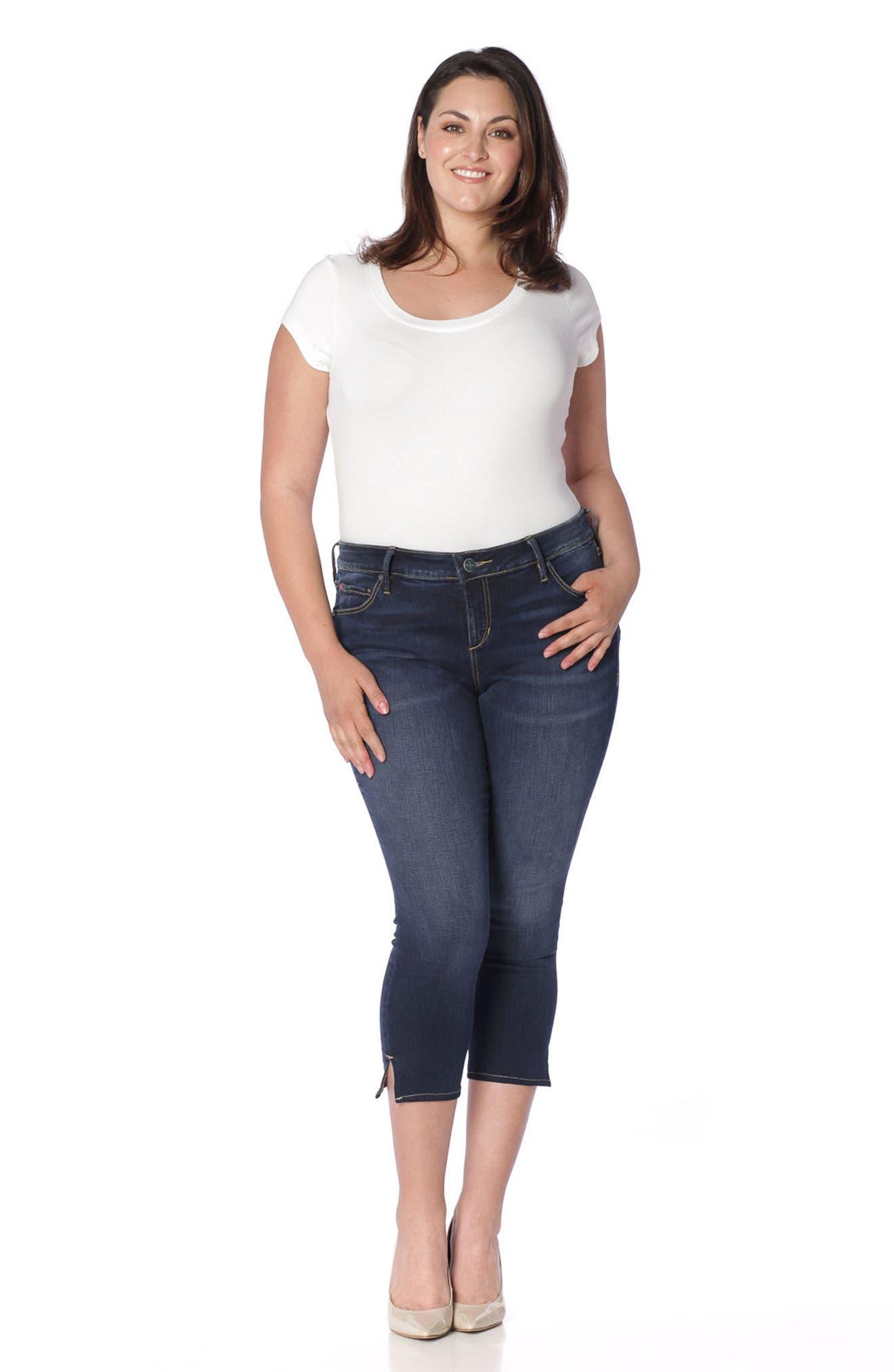 Alternate Image 2  - SLINK Jeans Side Vent Crop Jeans (Amber) (Plus Size)