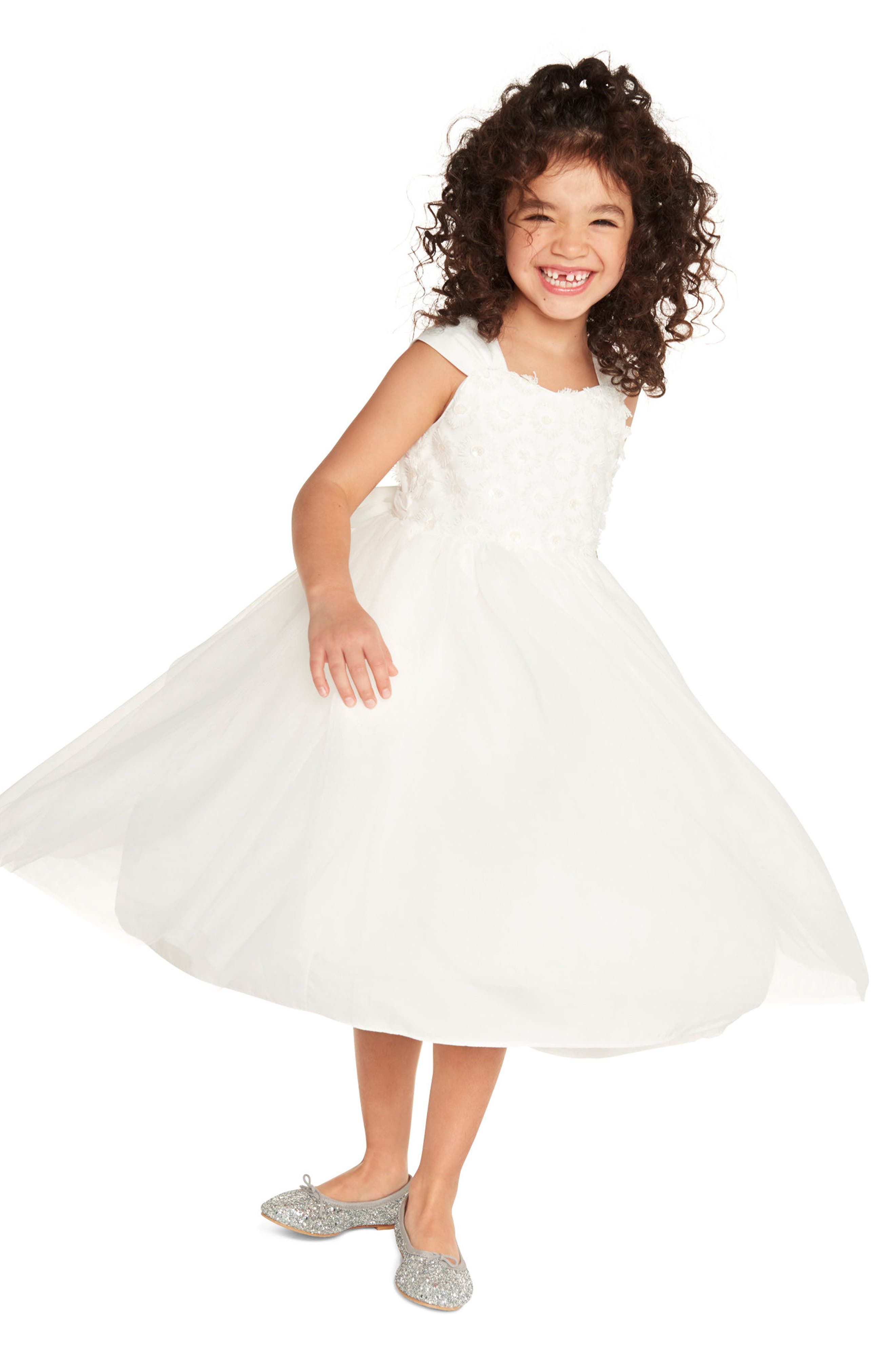 Embroidered Daisy Tulle Dress,                             Alternate thumbnail 4, color,                             White