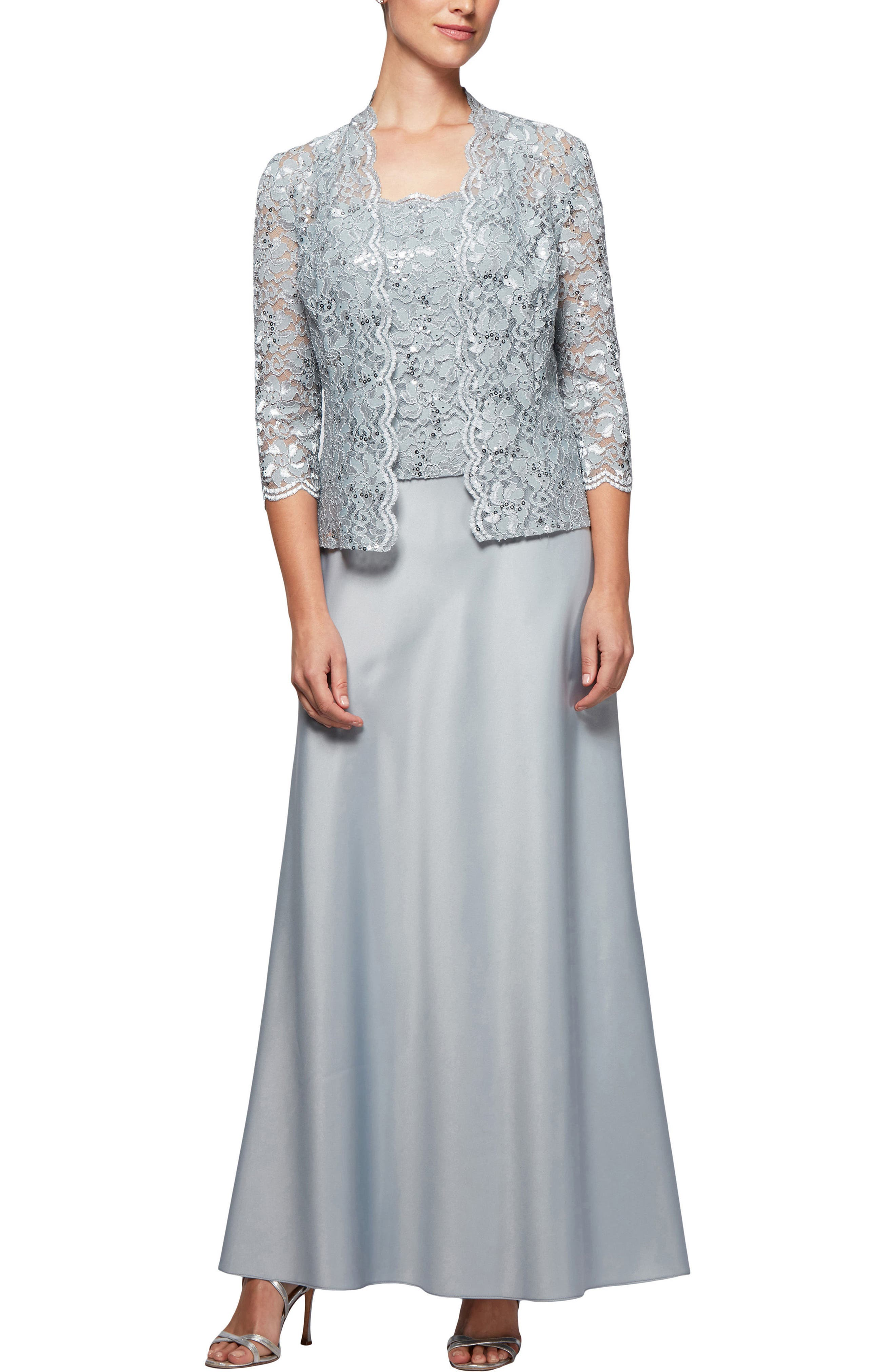 Scalloped Lace Gown with Jacket,                             Main thumbnail 1, color,                             Silver Frost