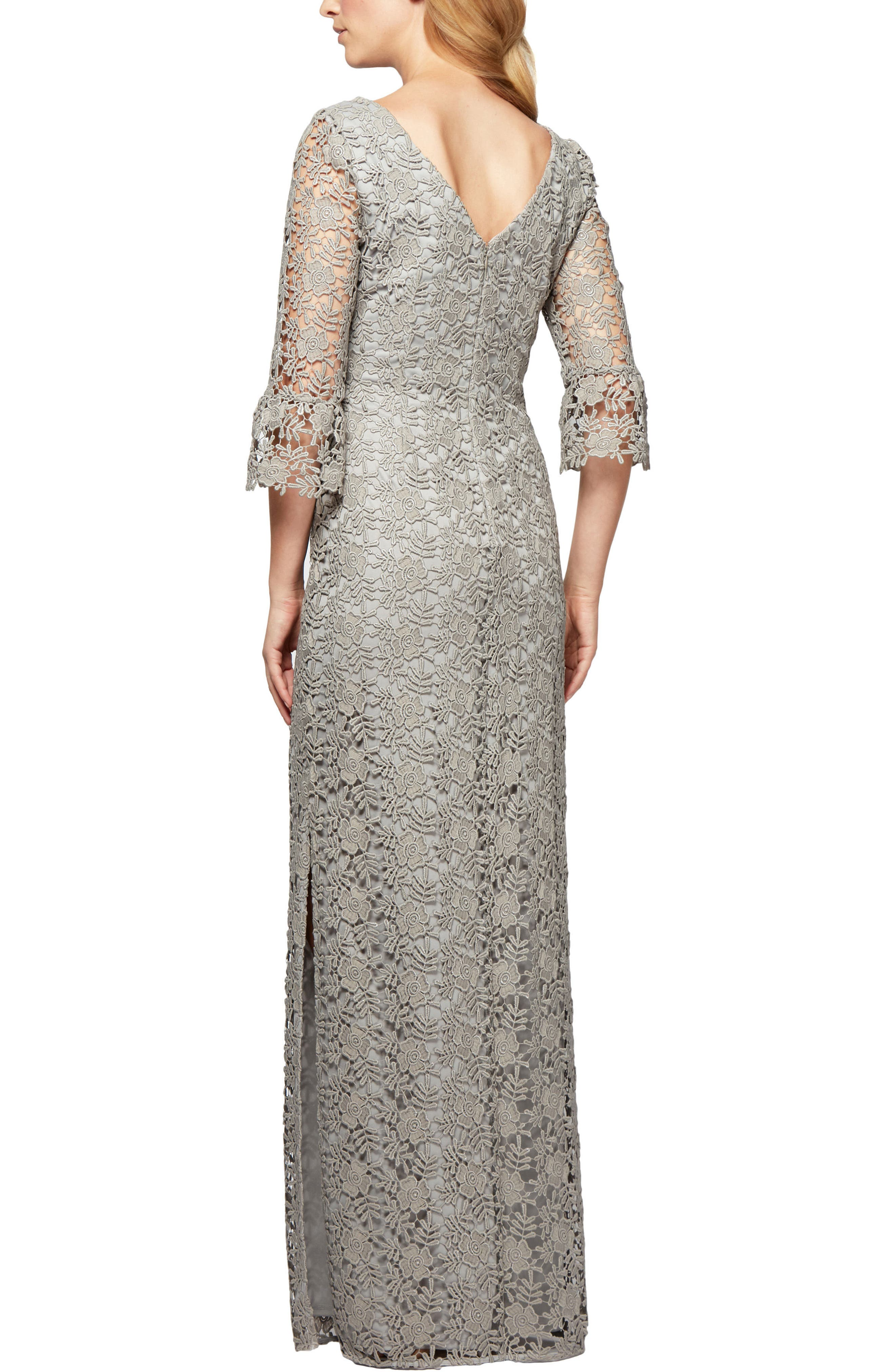 Alternate Image 2  - Alex Evenings Embroidered Lace Gown