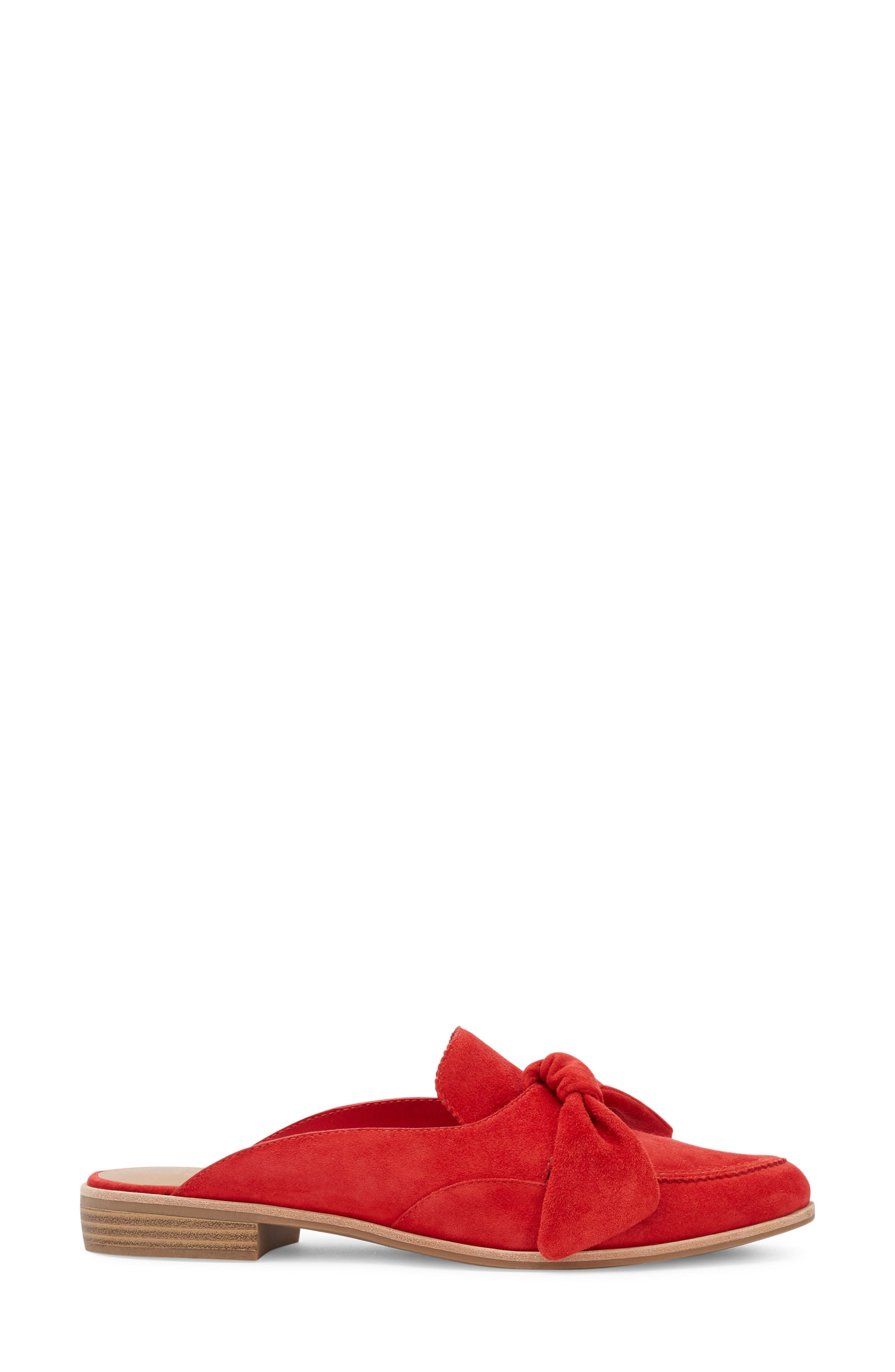 Ebbie Bow Mule,                             Alternate thumbnail 3, color,                             Red Suede