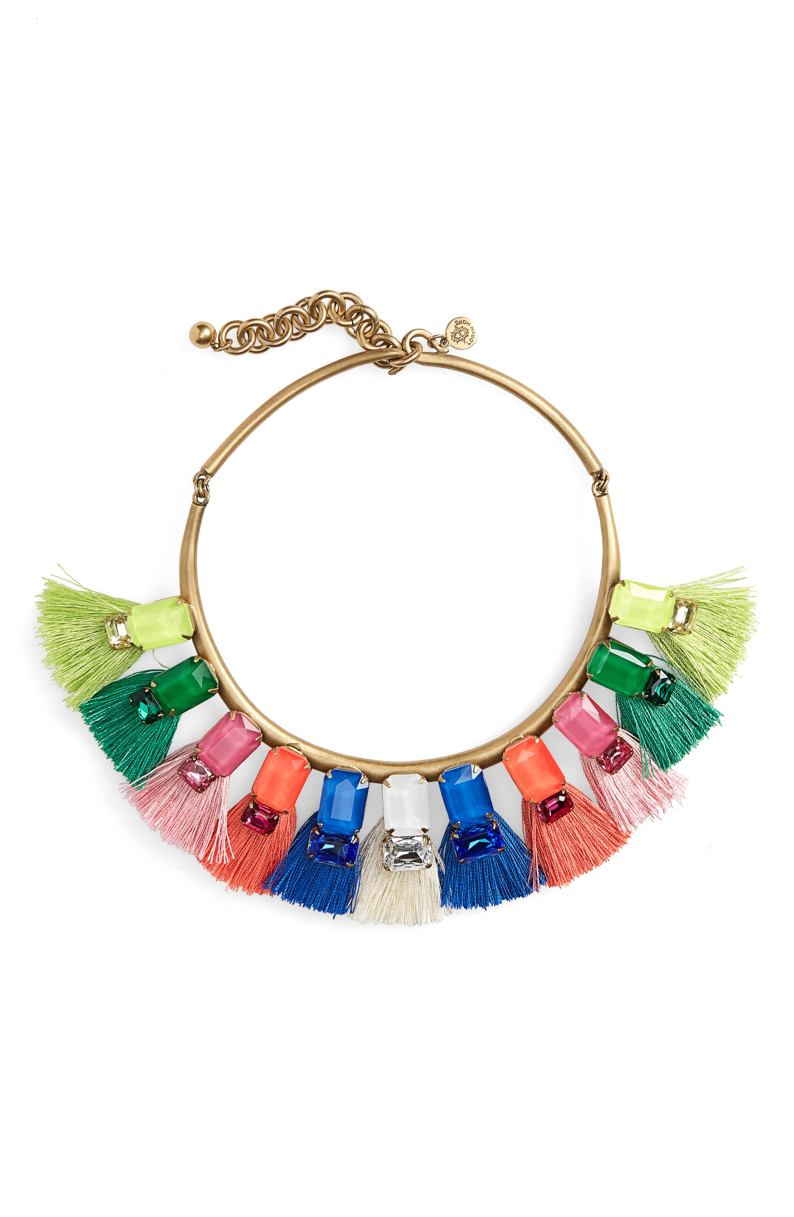 Scarlet Tassel Collar Necklace,                             Main thumbnail 1, color,                             Pink Multi