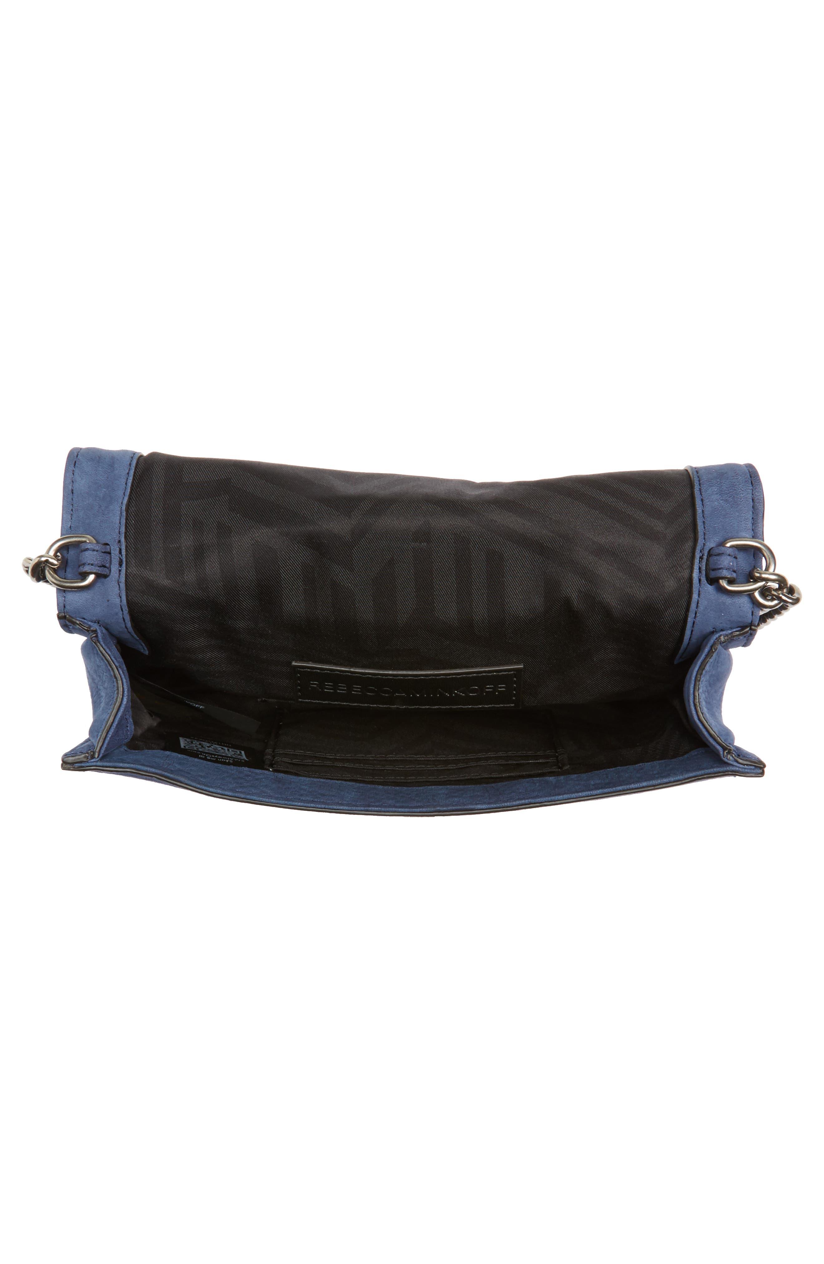 Small Love Nubuck Leather Crossbody Bag,                             Alternate thumbnail 4, color,                             True Navy
