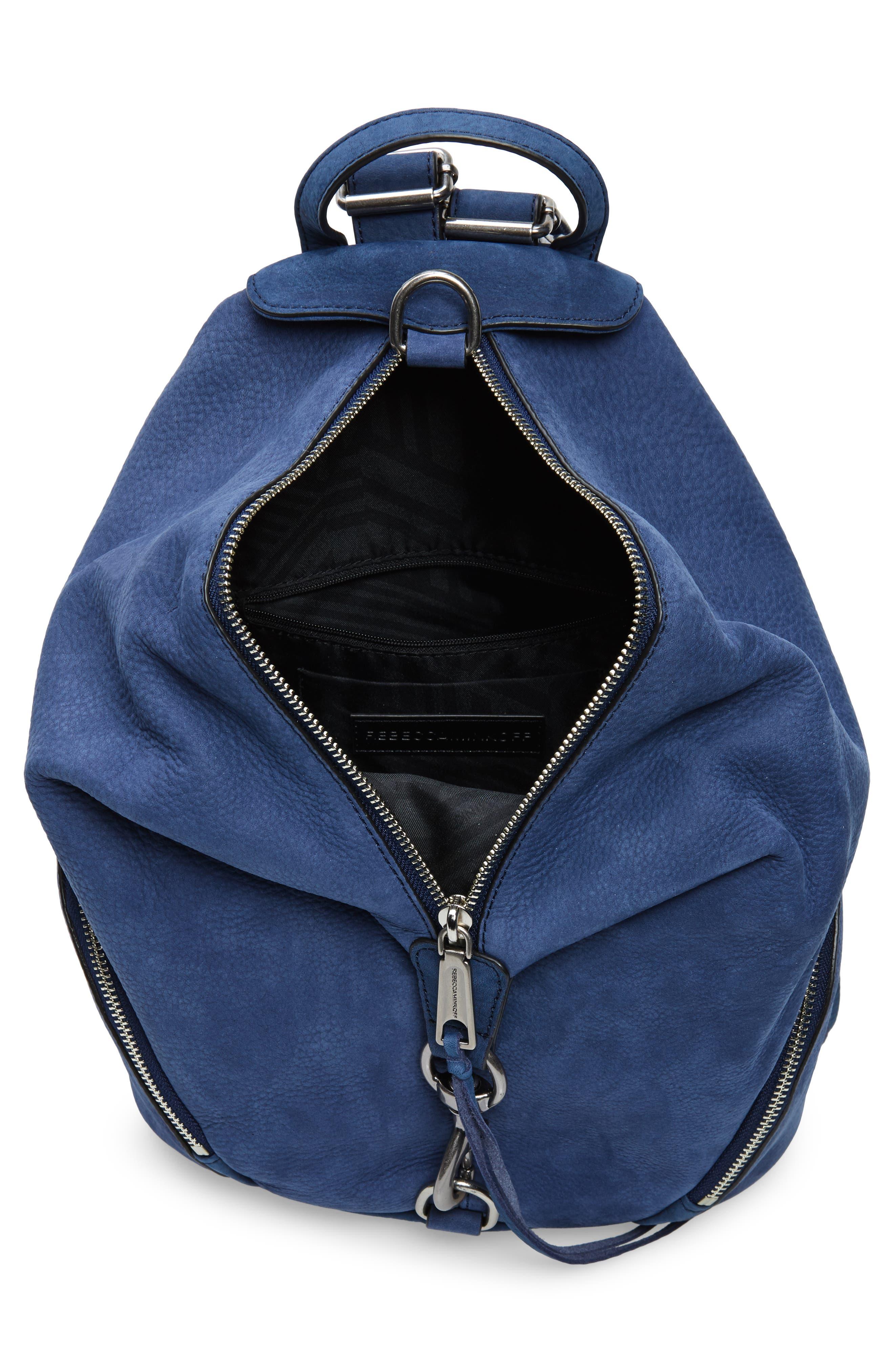 Julian Convertible Nubuck Leather Backpack,                             Alternate thumbnail 4, color,                             True Navy