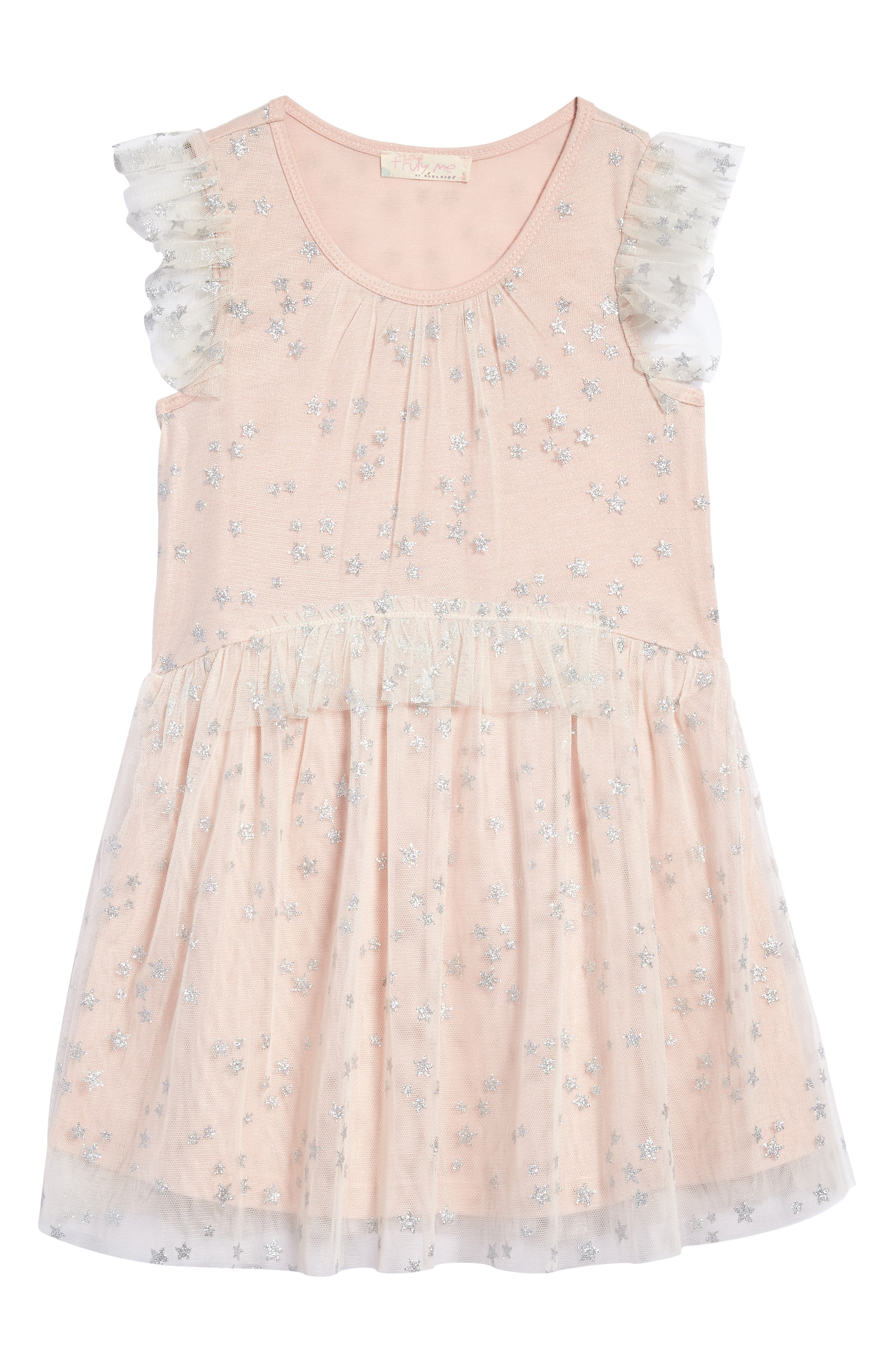Alternate Image 1 Selected - Truly Me Mesh Star Dress (Toddler Girls & Little Girls)