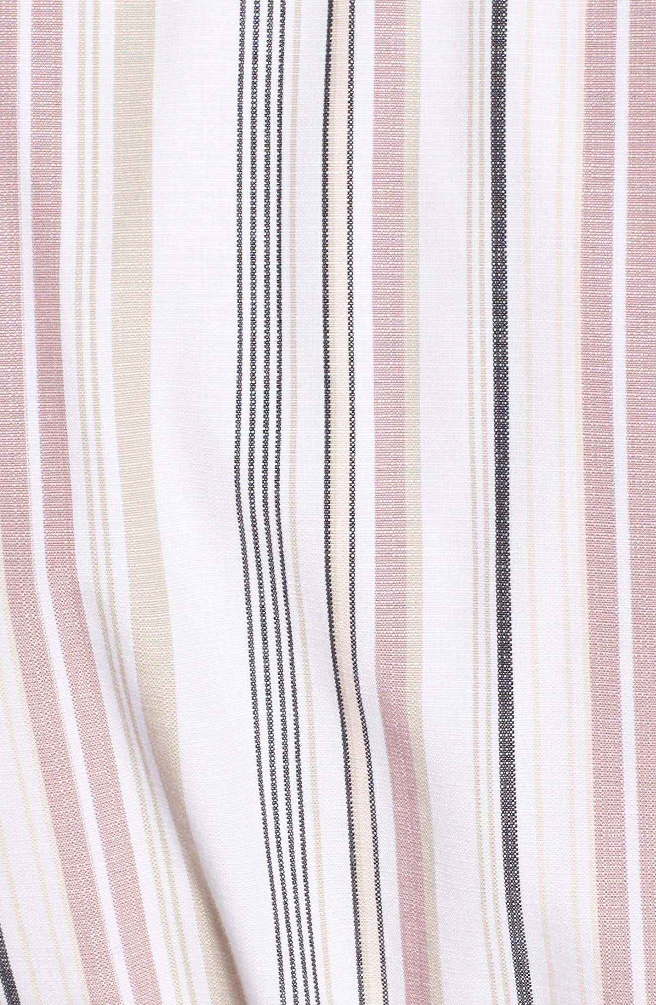 Button Front Dress,                             Alternate thumbnail 5, color,                             Pink Adobe Tracy Stripe