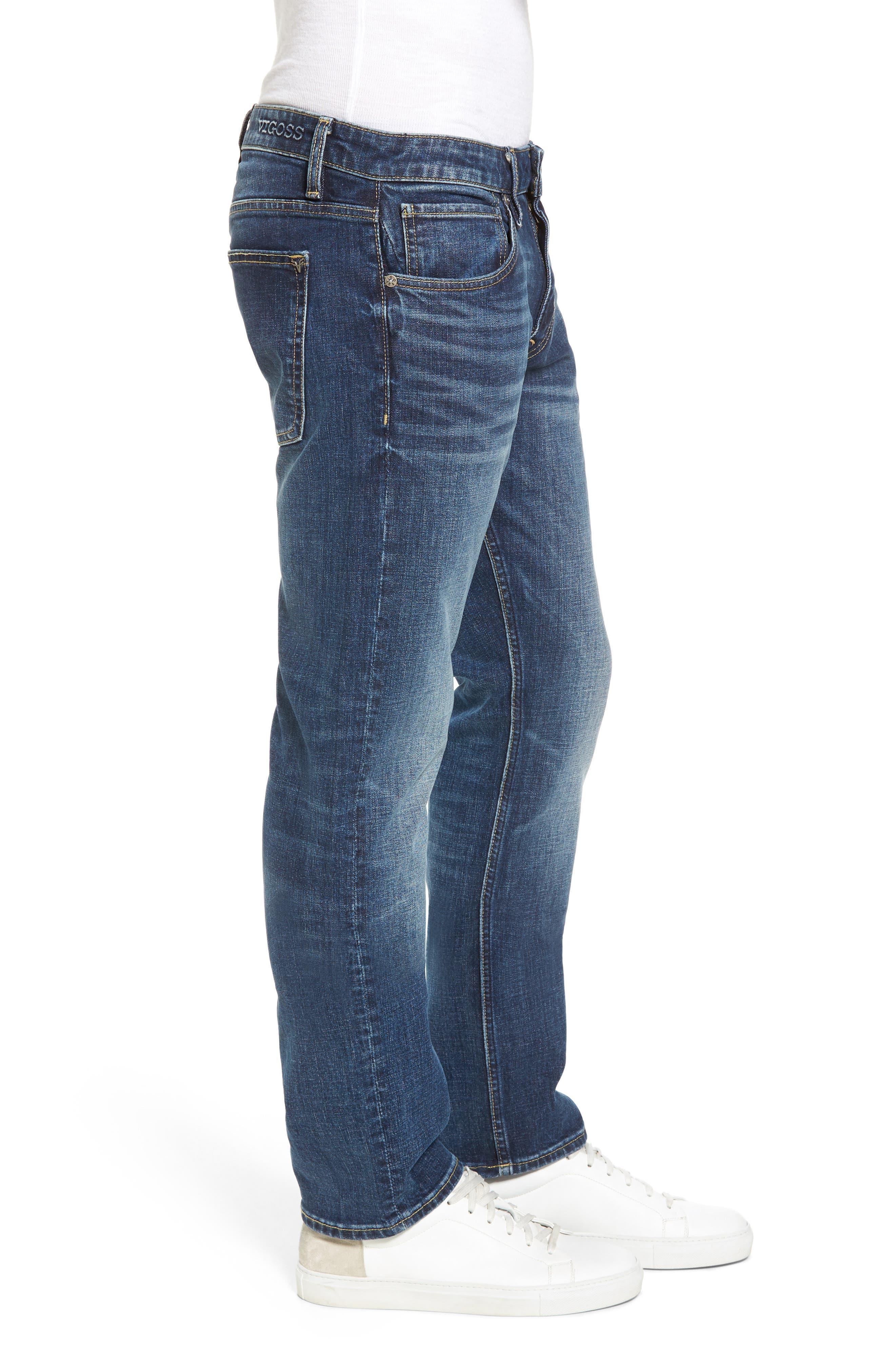 Slim Straight Leg Jeans,                             Alternate thumbnail 3, color,                             Medium Wash