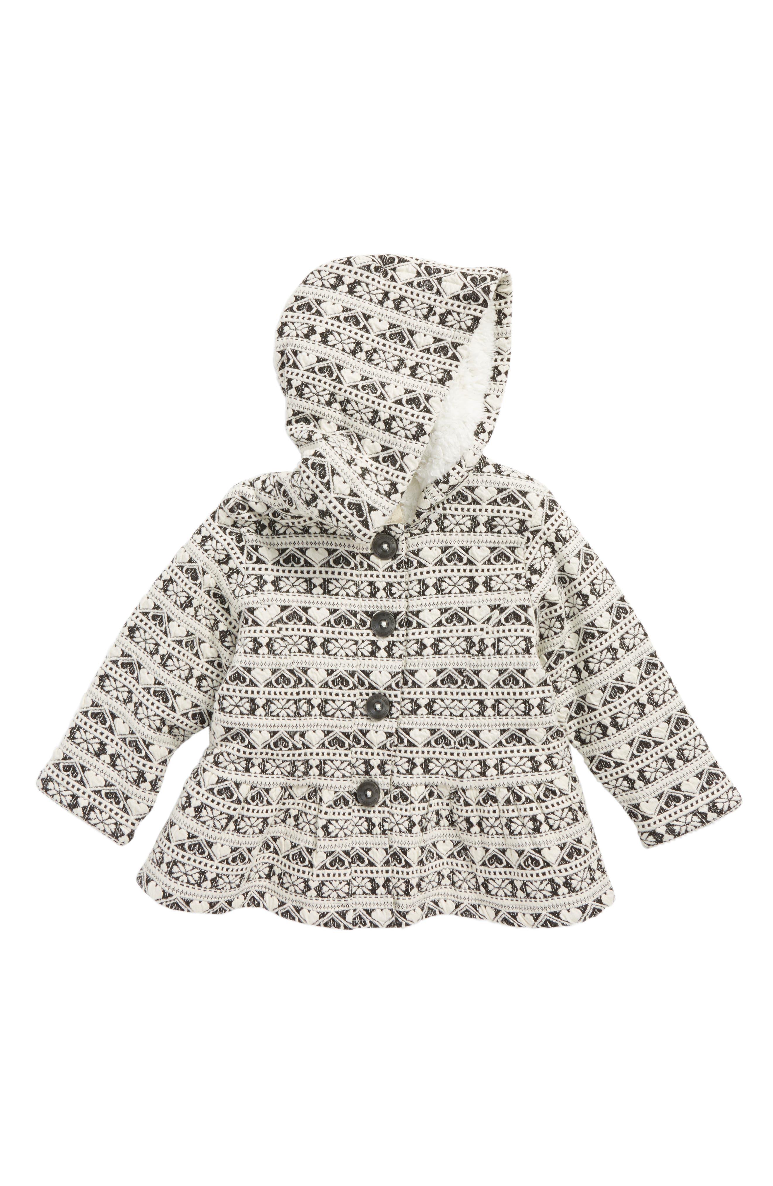 Hooded Peplum Jacket with Plush Lining,                         Main,                         color, Ivory Egret Heart Fairisle
