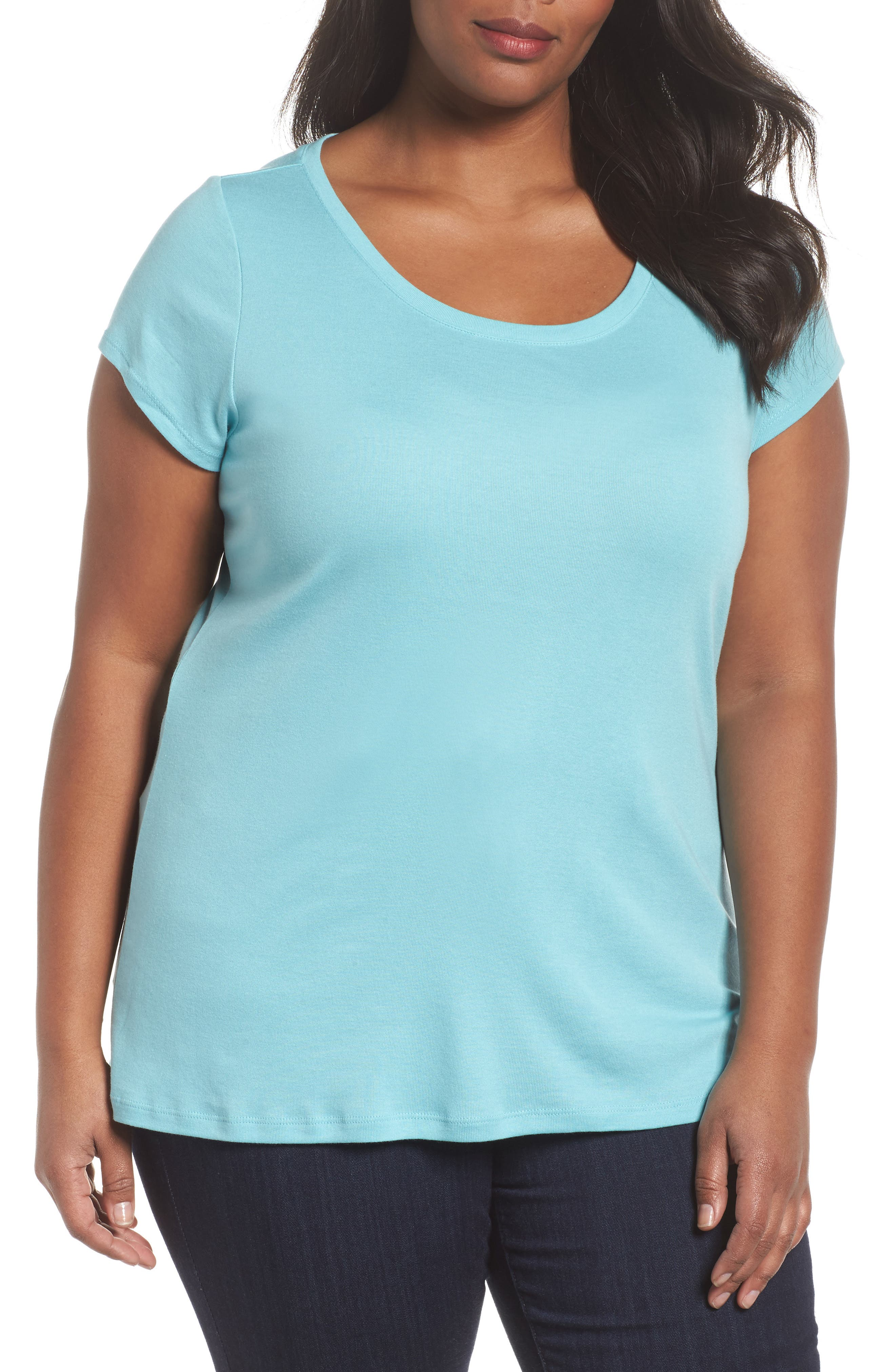 Alternate Image 1 Selected - Sejour Cap Sleeve Ribbed Tee (Plus Size)
