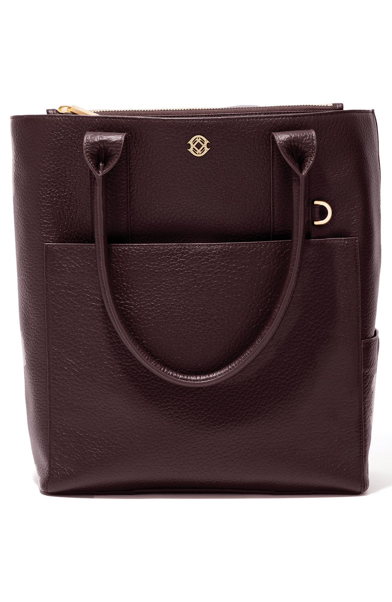 Charlie Leather Tote,                             Alternate thumbnail 3, color,                             Oxblood