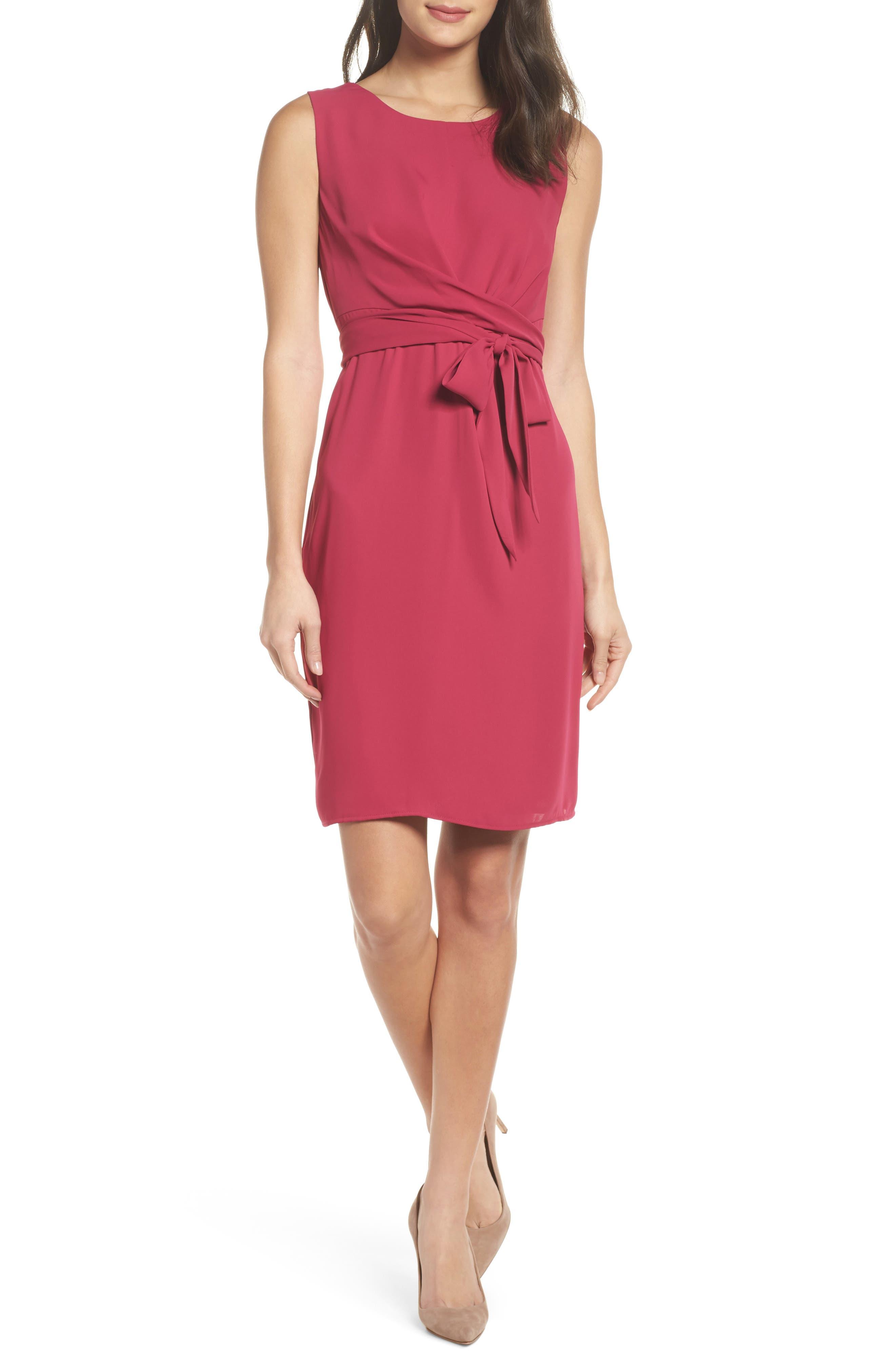 Tie Front Sheath Dress,                         Main,                         color, Fuschia