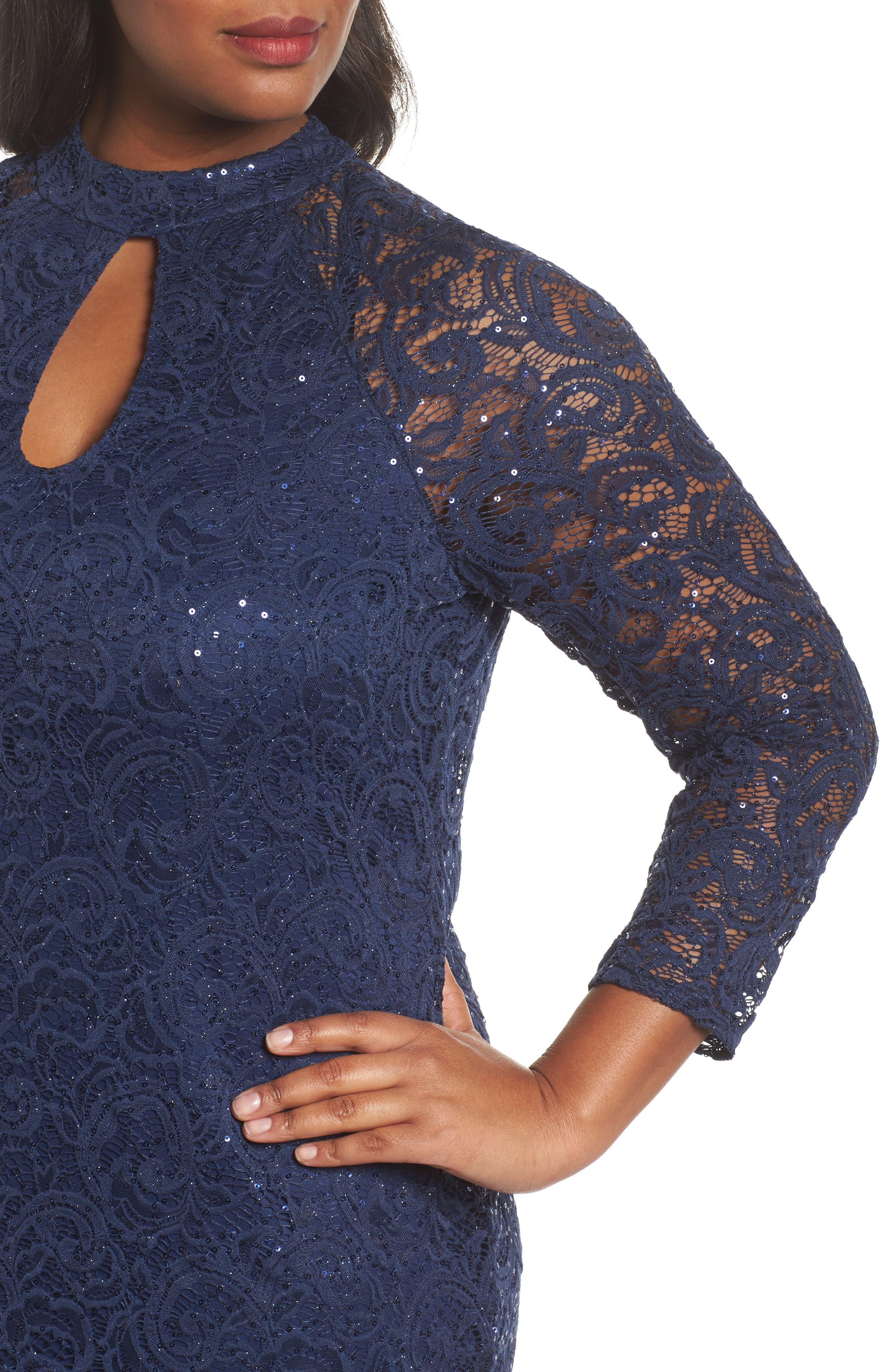 Sequin Keyhole Sheath Dress,                             Alternate thumbnail 4, color,                             Navy
