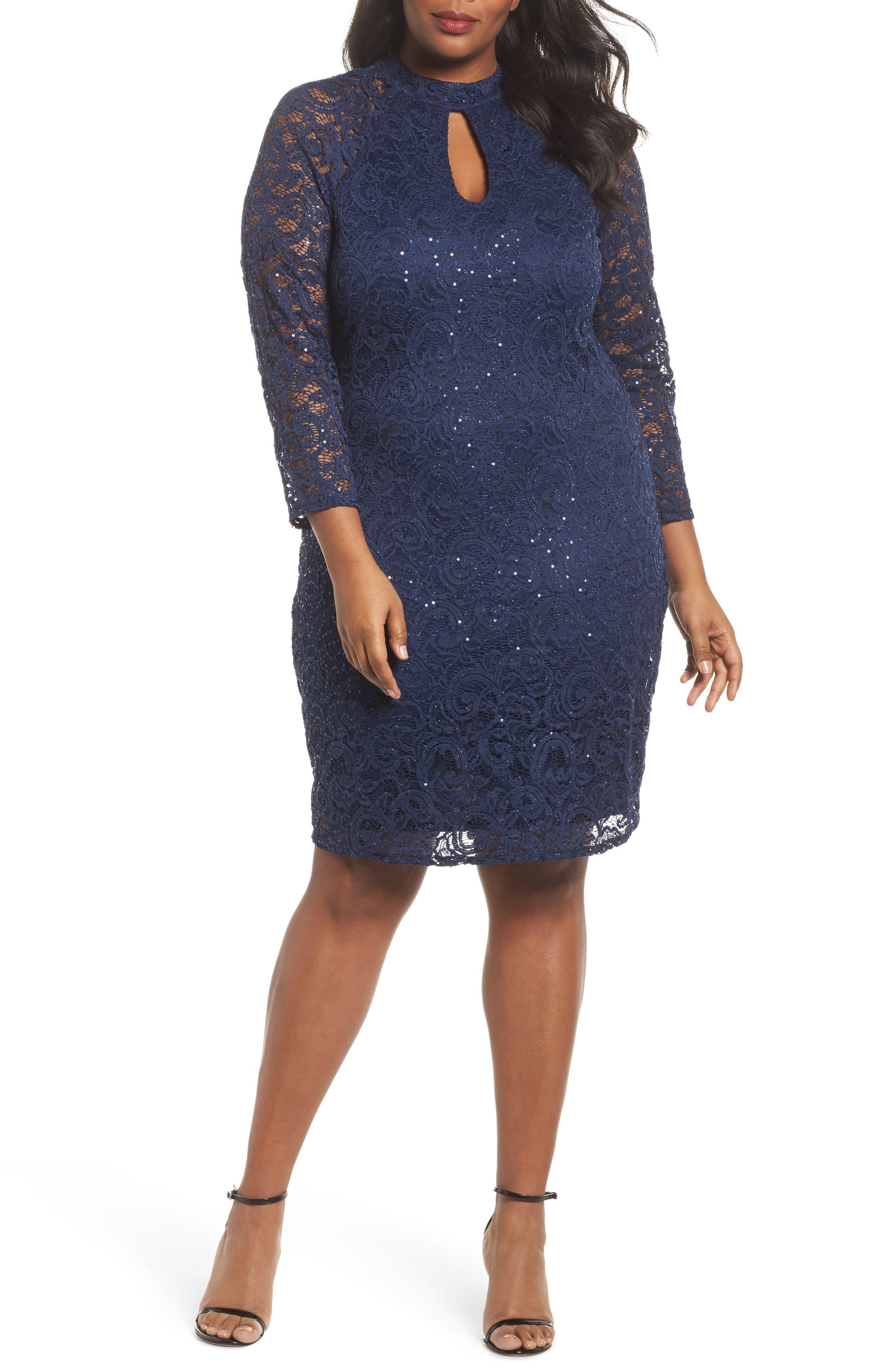 Sequin Keyhole Sheath Dress,                             Main thumbnail 1, color,                             Navy