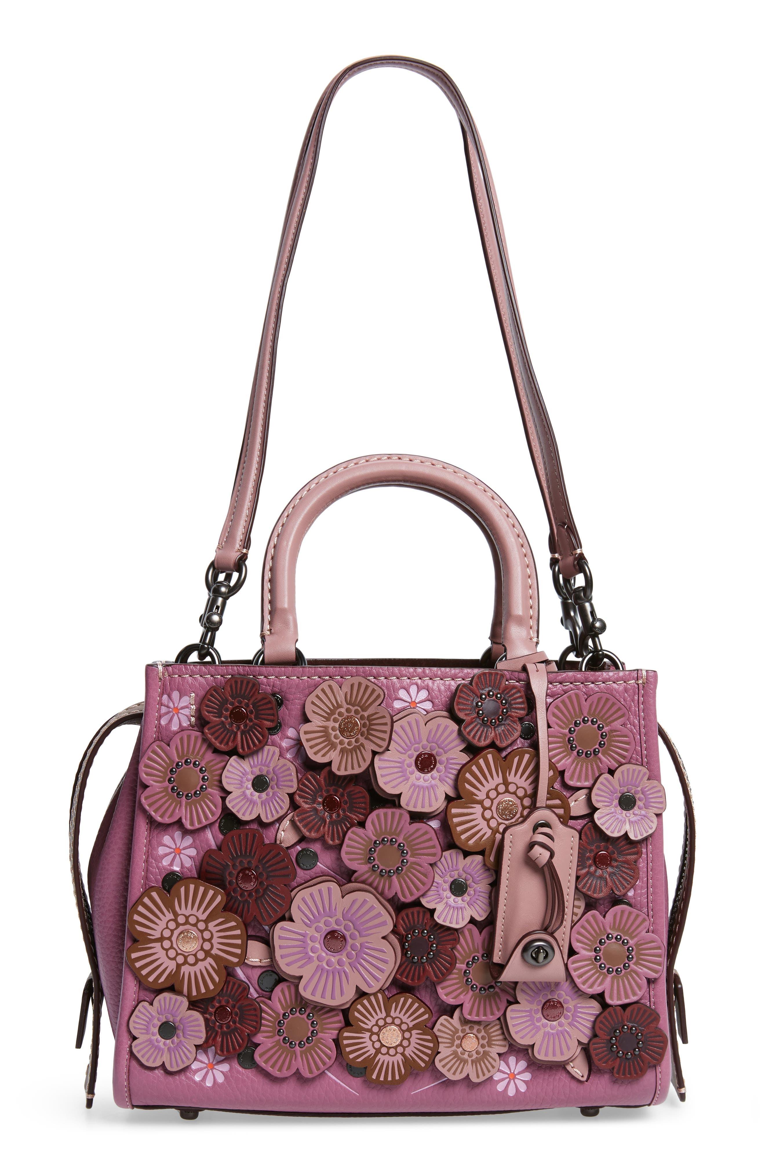 Alternate Image 1 Selected - COACH 1941 Rogue 25 Tea Rose Appliqué Leather Crossbody Bag