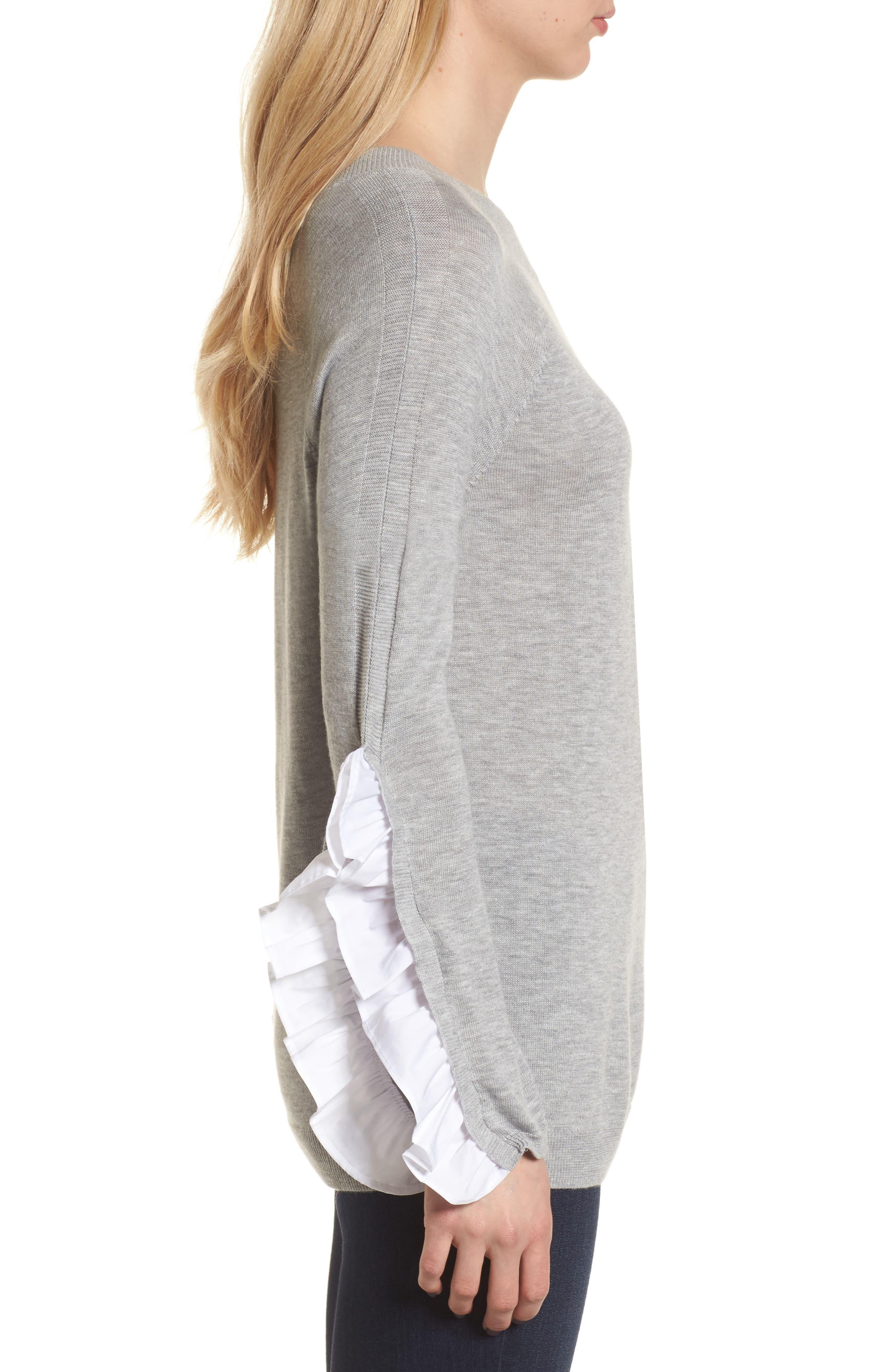 Ruffle Sleeve Sweater,                             Alternate thumbnail 3, color,                             Grey Heather