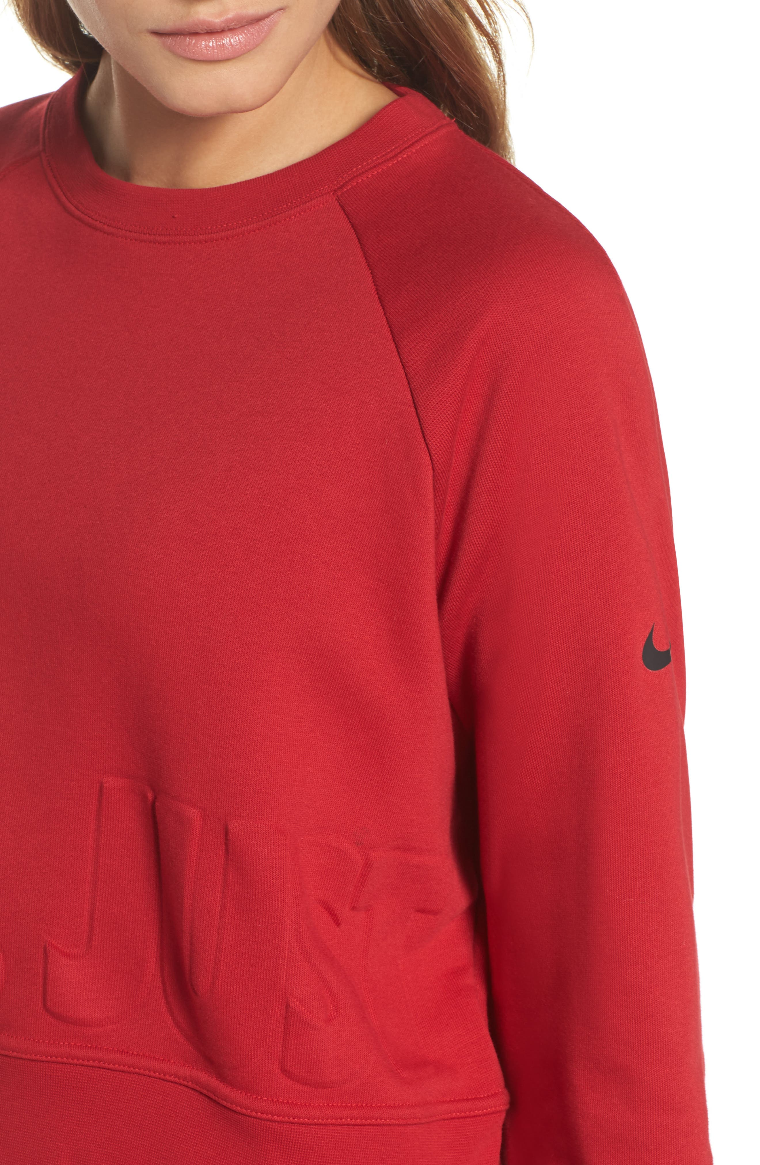 Long Sleeve Crop Training Top,                             Alternate thumbnail 4, color,                             Gym Red/ Black