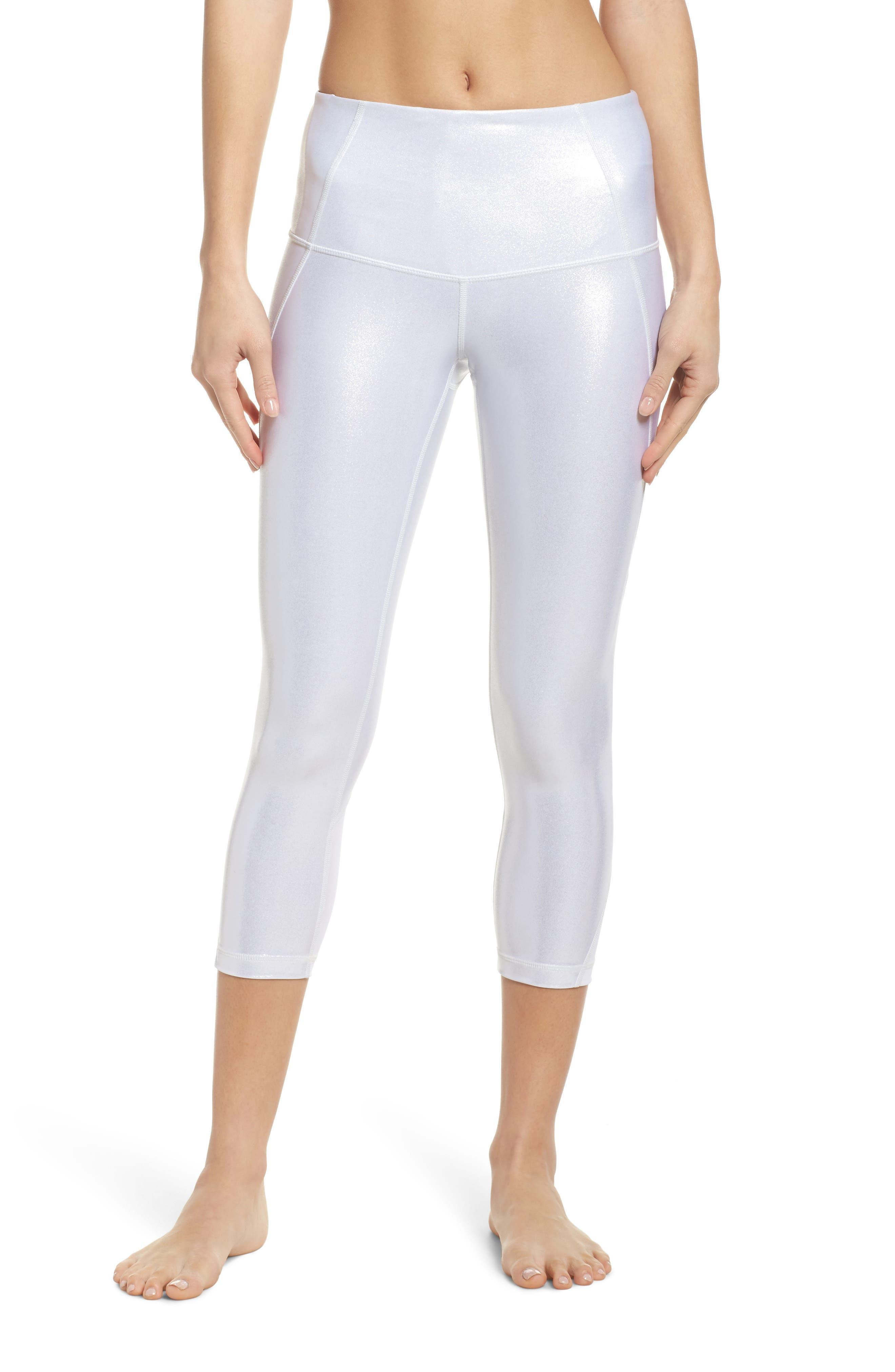Hatha Glitter High Waist Crop Leggings,                         Main,                         color, Silver