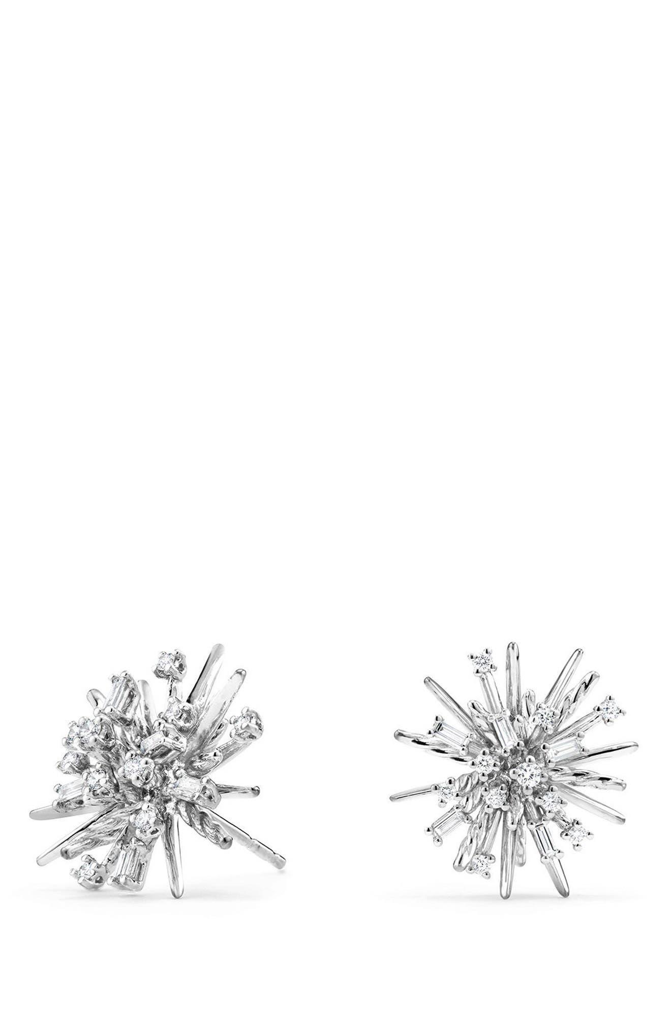 Supernova Stud Earrings with Diamonds in 18K White Gold,                             Main thumbnail 1, color,                             White Gold/ Diamond