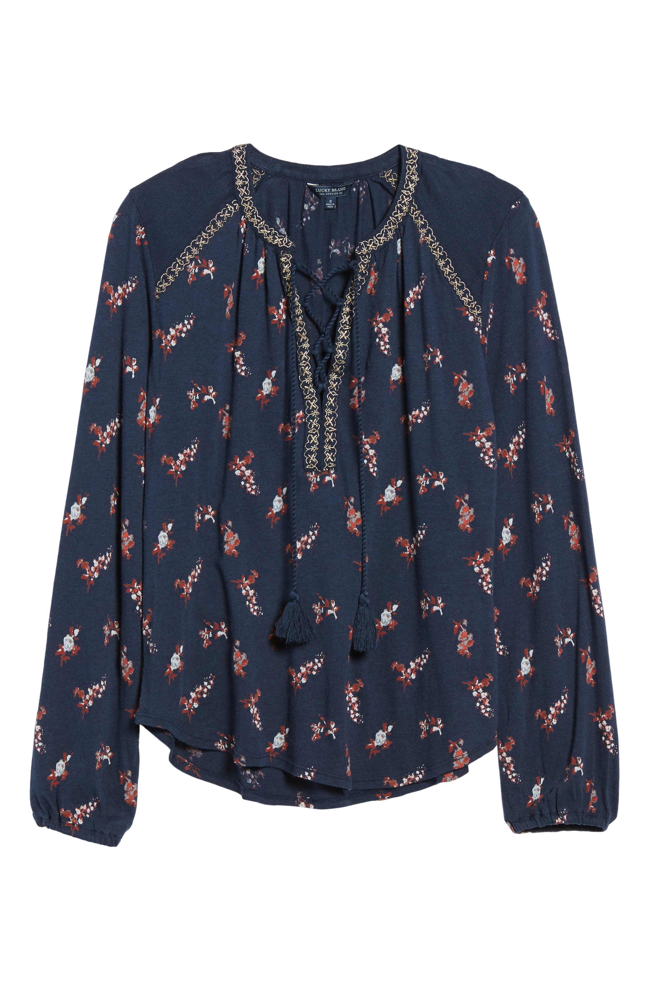 Lace-Up Ditsy Print Top,                         Main,                         color, Navy Multi