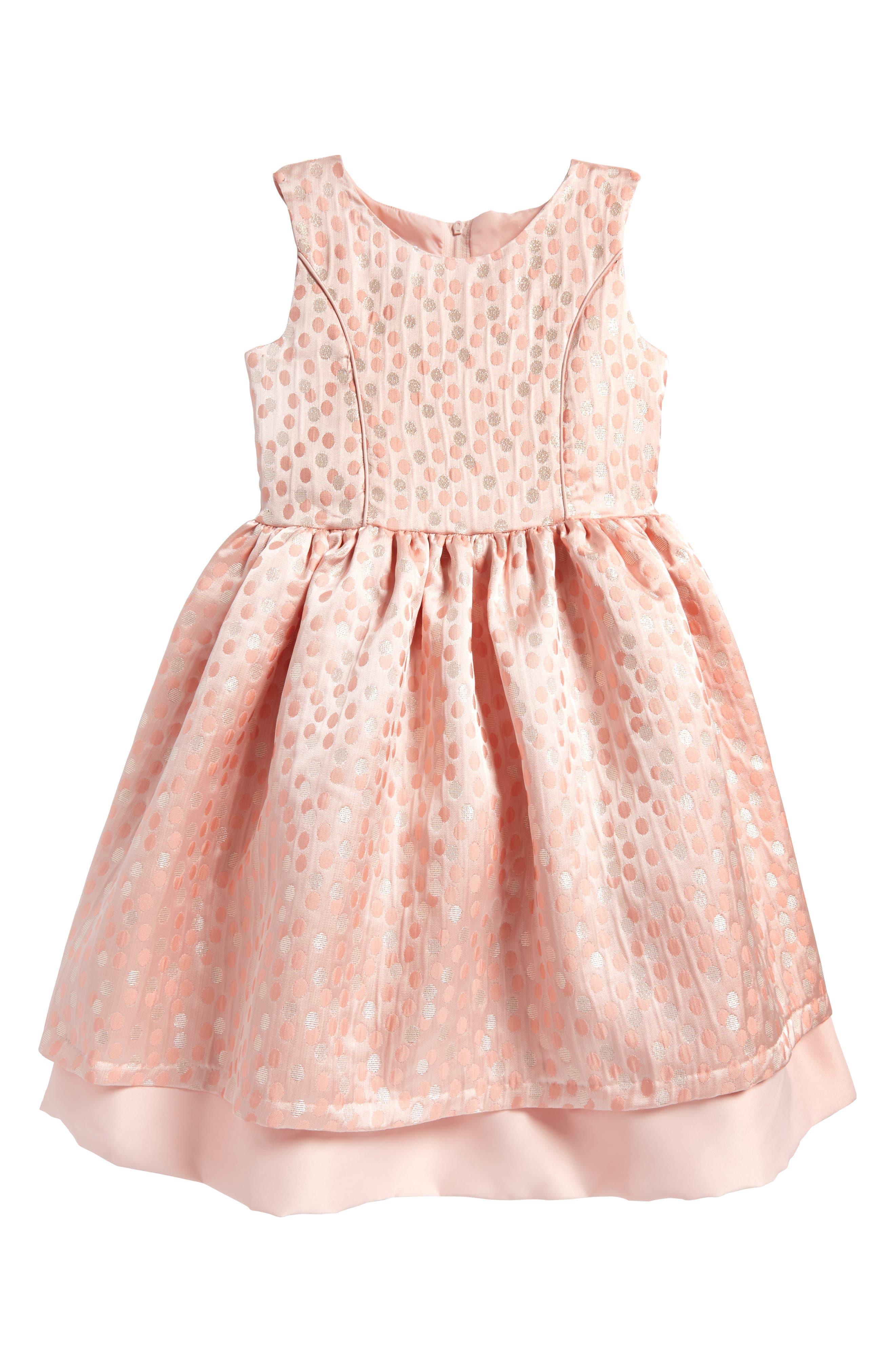 Metallic Dot Jacquard Dress,                             Main thumbnail 1, color,                             Peach