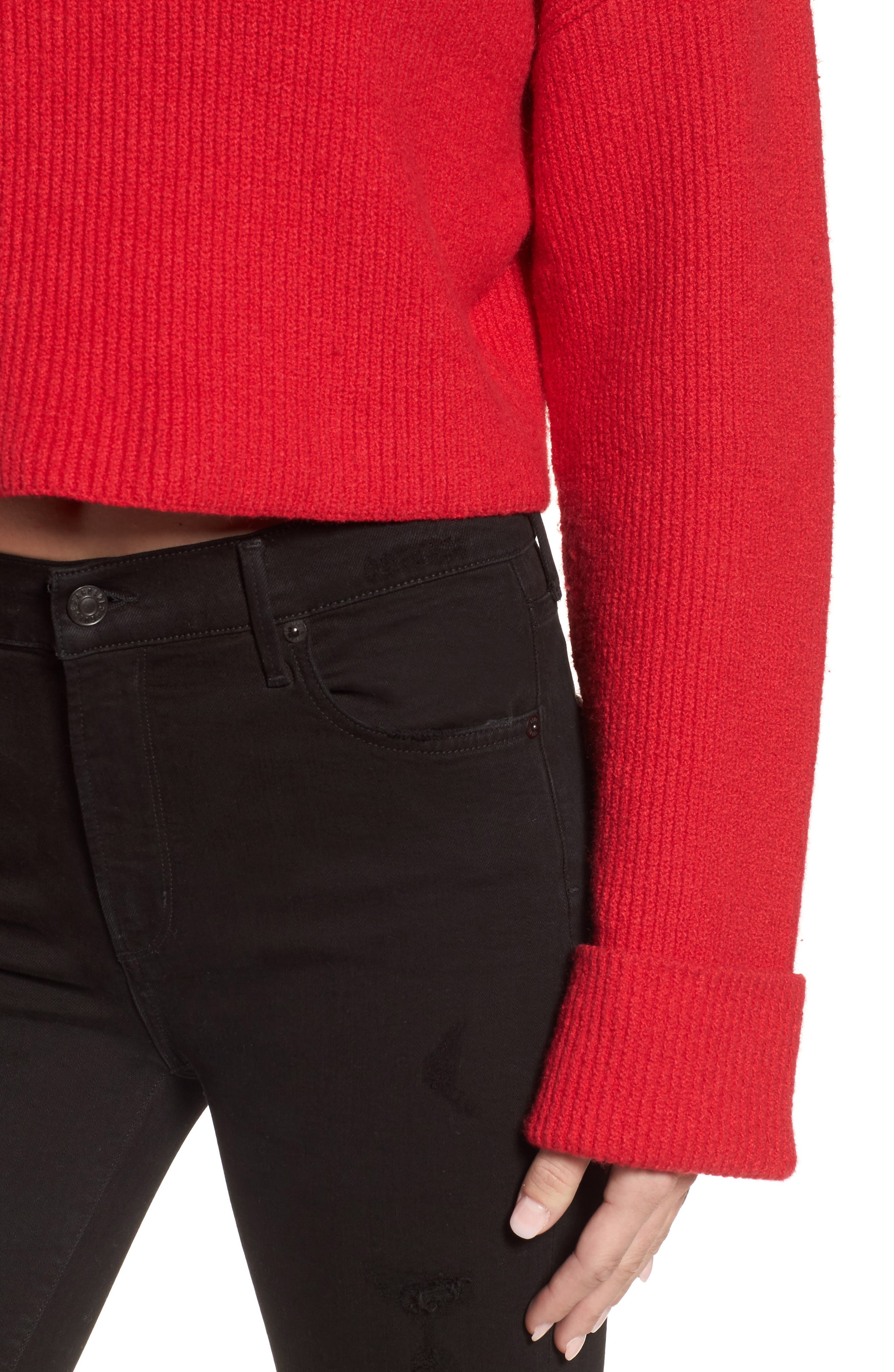 Wide Cuff Mock Neck Sweater,                             Alternate thumbnail 4, color,                             Patriot Red