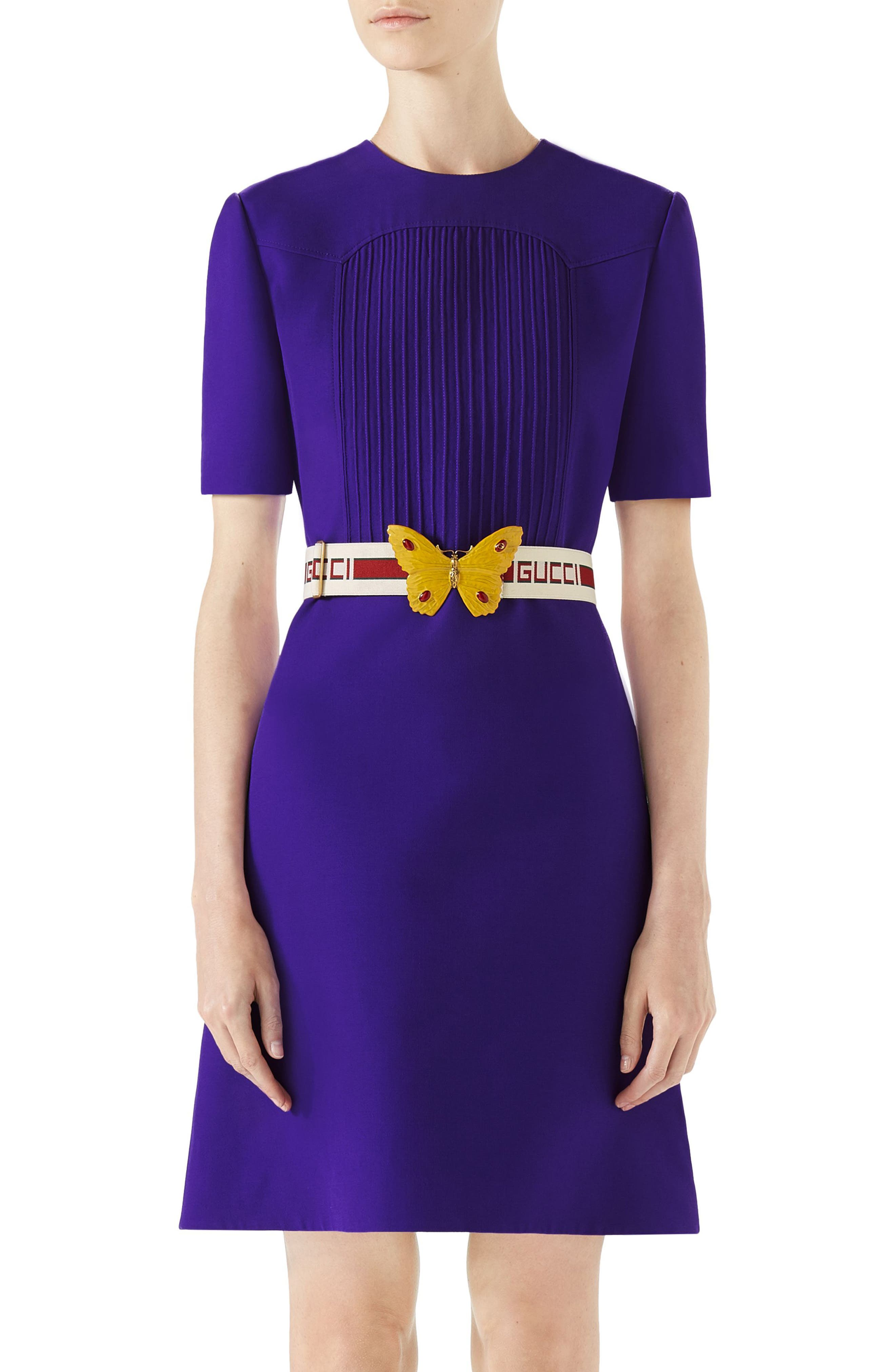 Belted Pintuck Cady Crepe Dress,                             Main thumbnail 1, color,                             Bright Purple