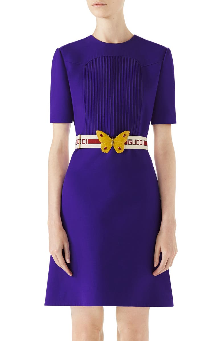 Belted Pintuck Cady Crepe Dress