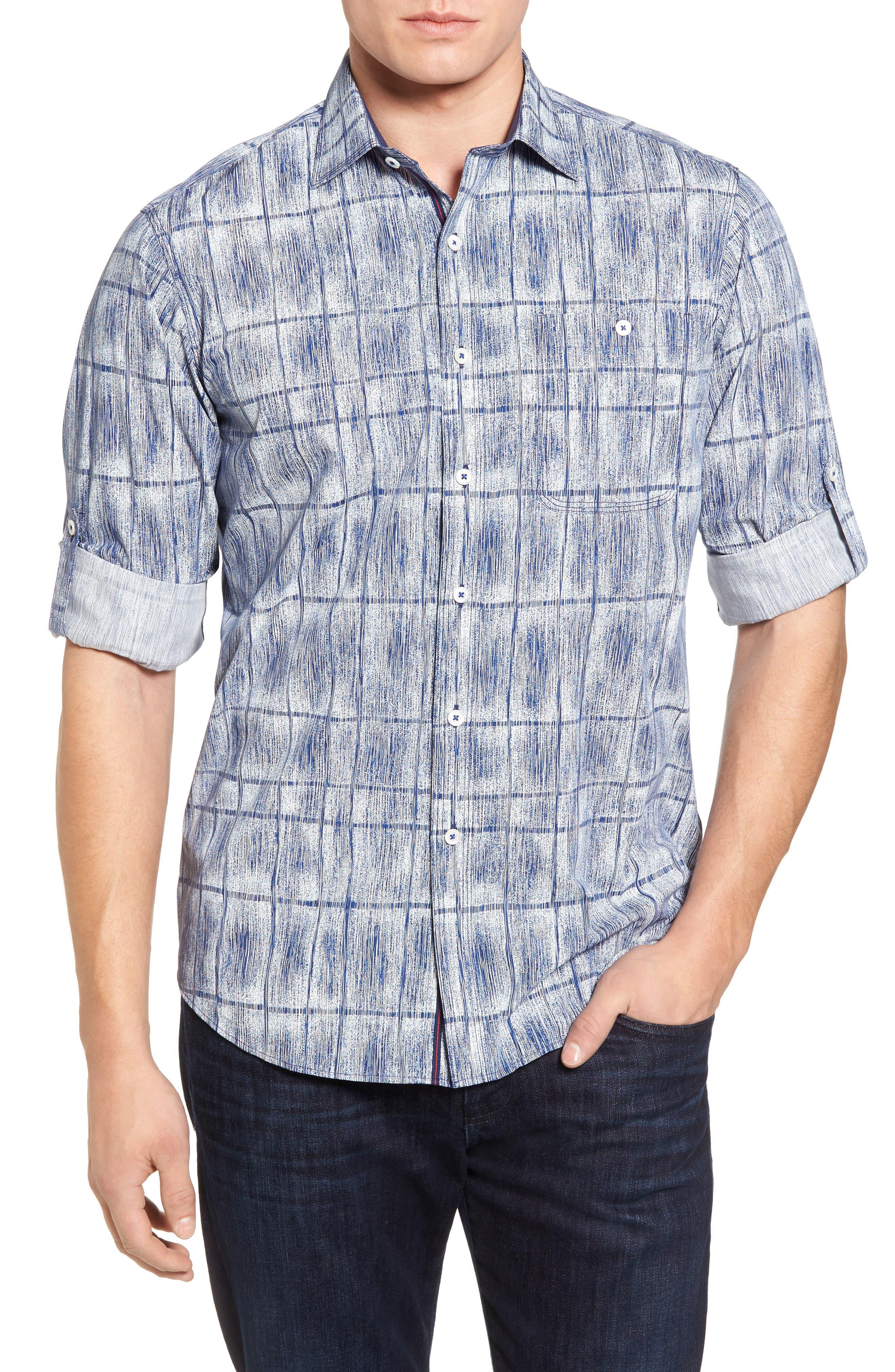 Classic Fit Print Sport Shirt,                         Main,                         color, Cobalt