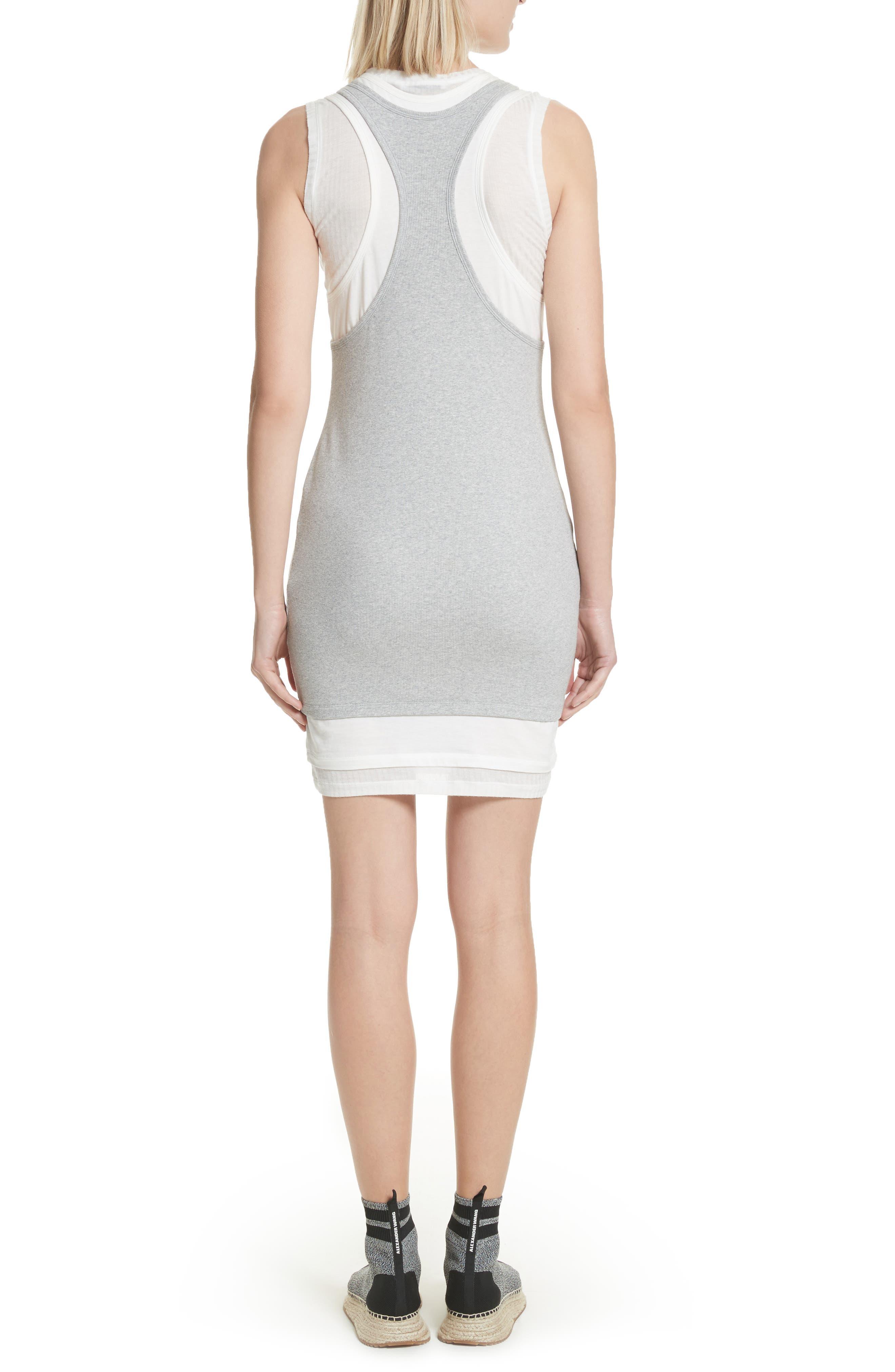 Alexander Wang Layered Mixed Media Dress,                             Alternate thumbnail 2, color,                             Heather Grey Off White