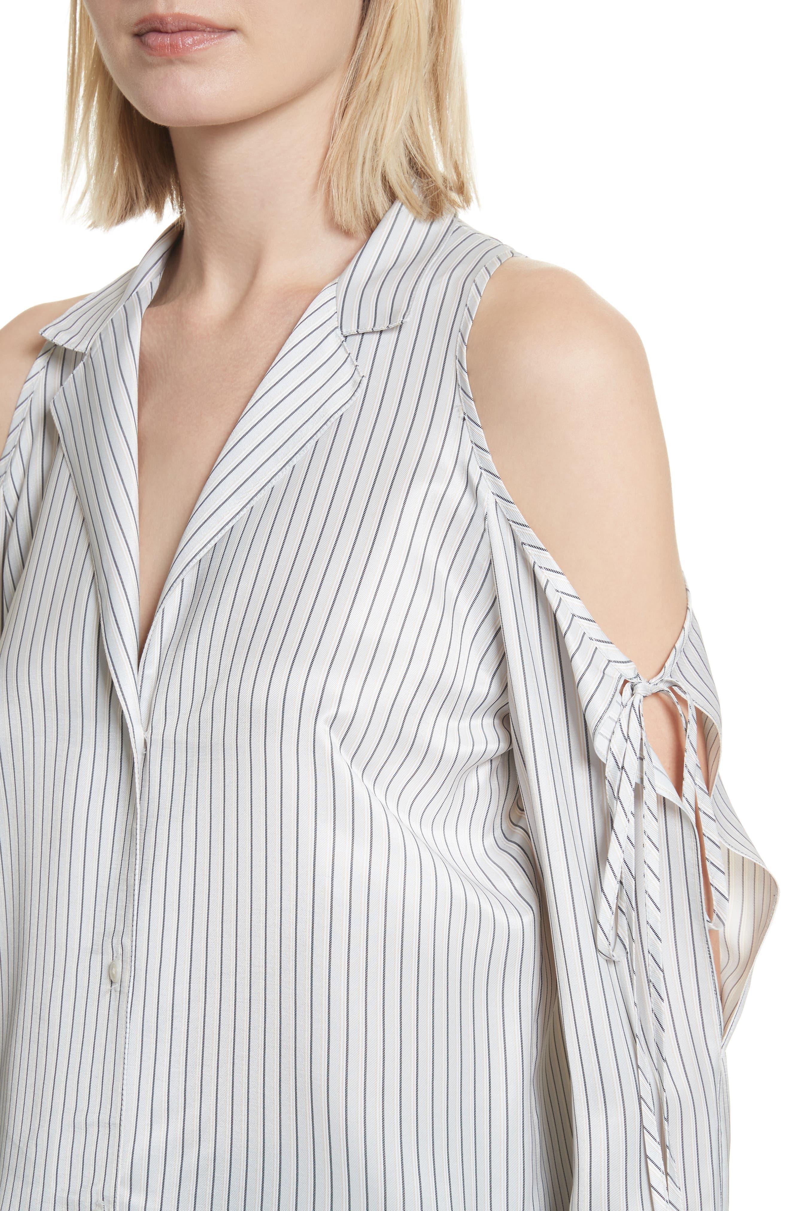 Stripe Cold Shoulder Satin Tunic,                             Alternate thumbnail 4, color,                             Blue/ Silver Stripe
