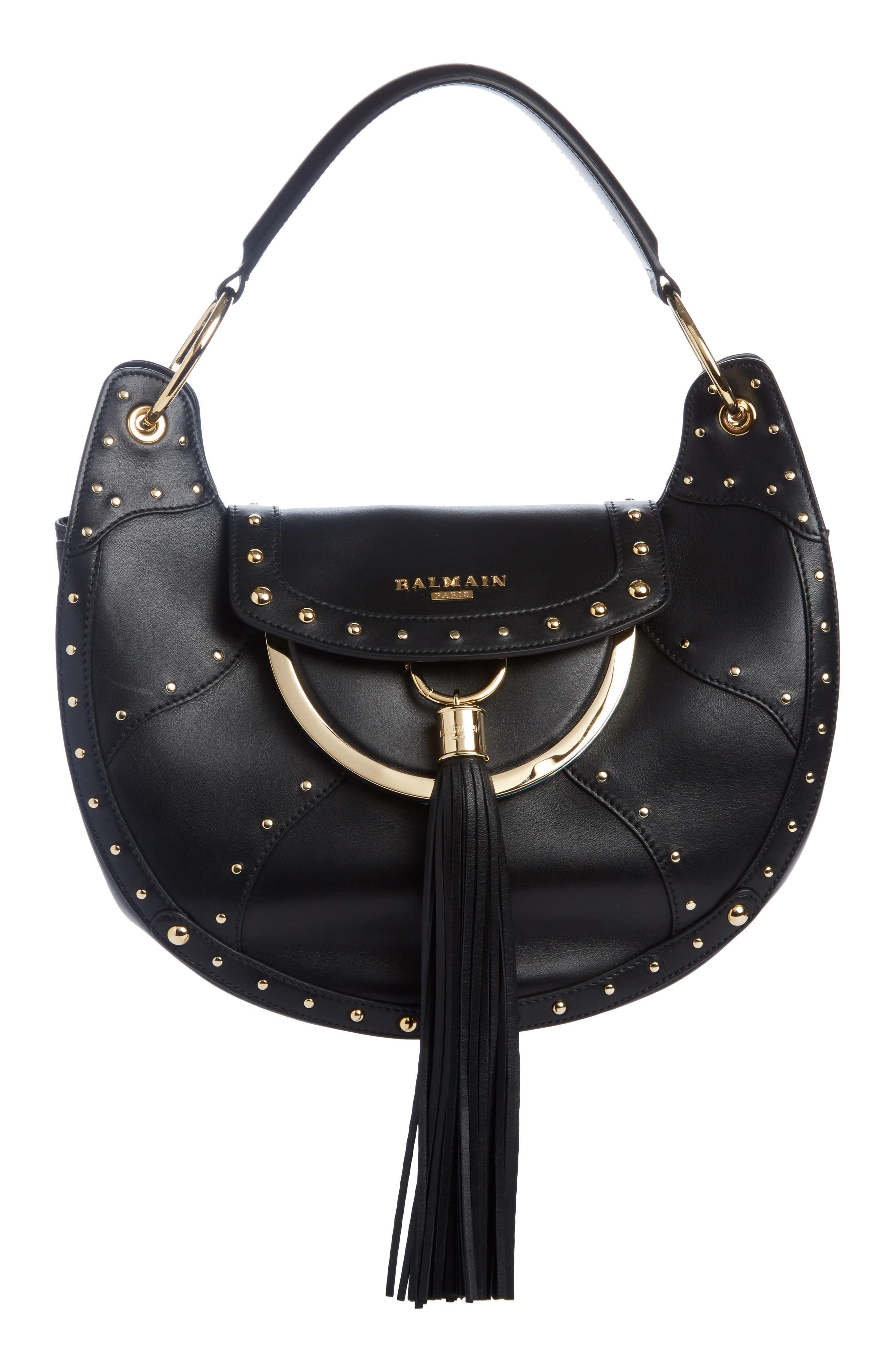 Balmain Domaine Full Moon Leather Shoulder Bag