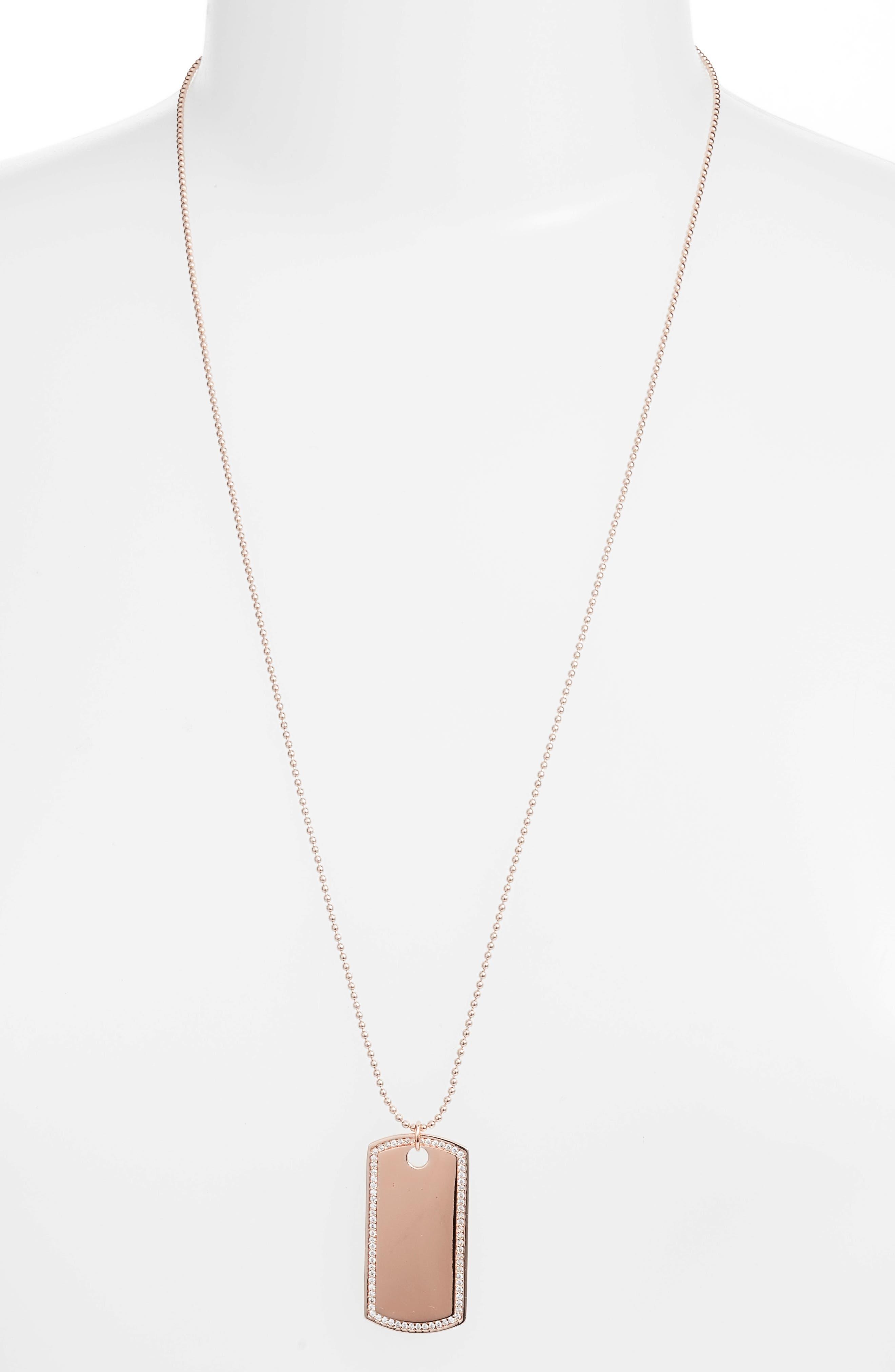 Pavé Dog Tag Pendant Necklace,                         Main,                         color, Rose Gold
